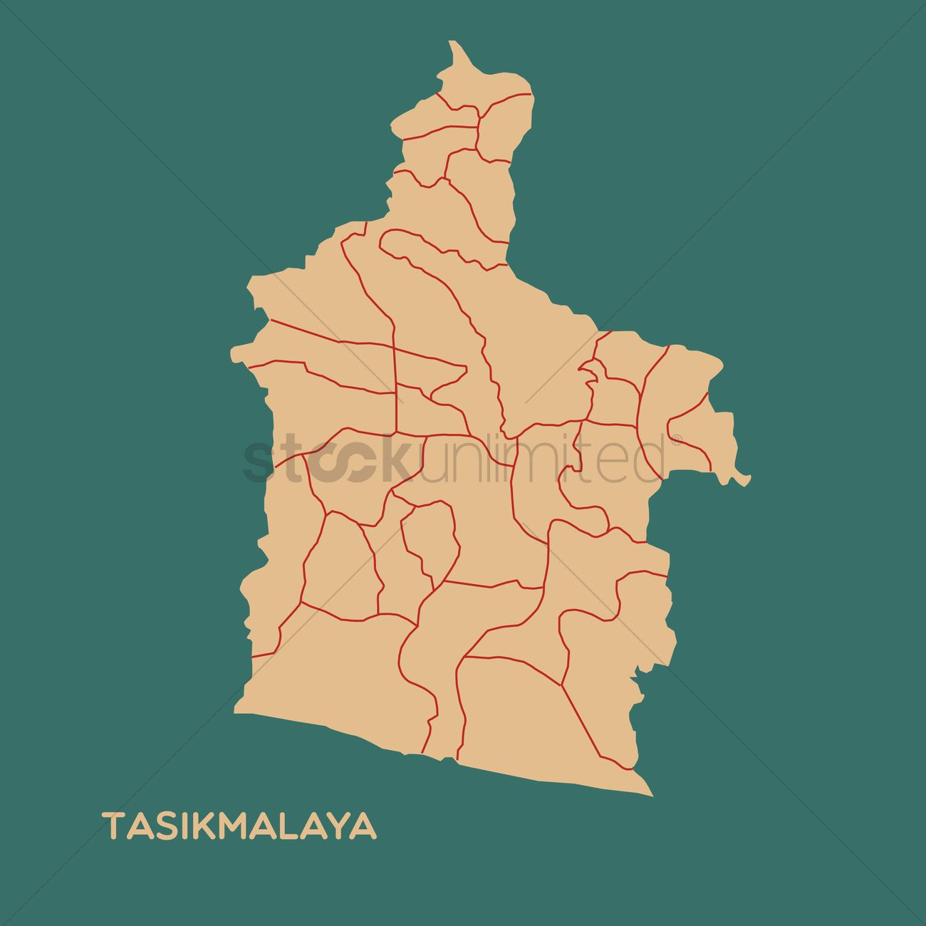Map of tasikmalaya Vector Image 1479813 StockUnlimited