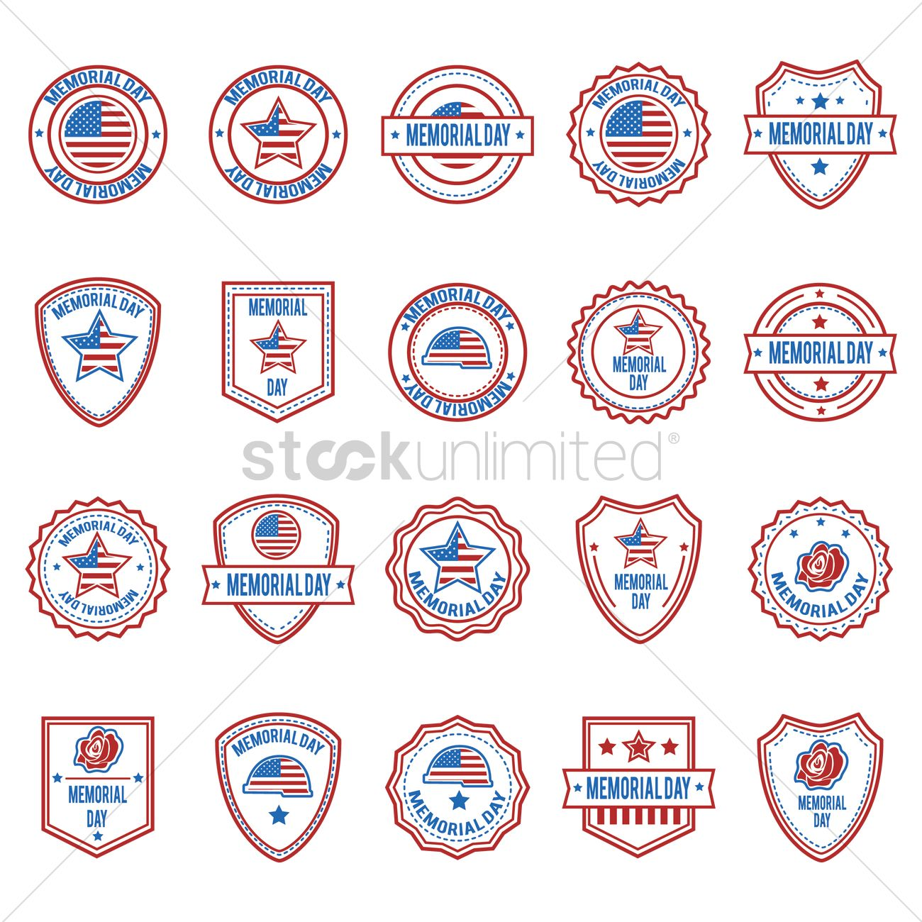 Set of Happy Memorial Day labels. Design elements for poster ...