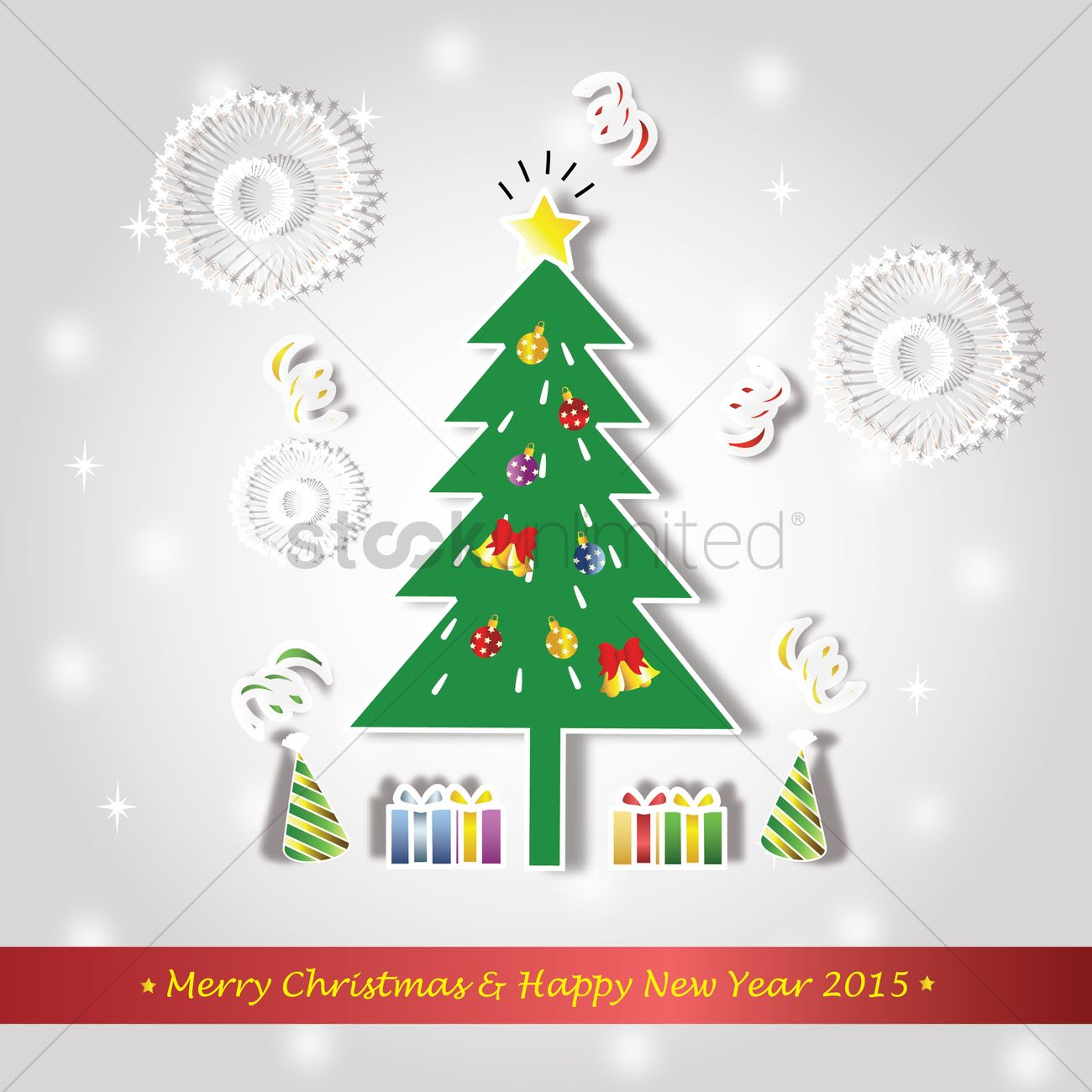 Merry christmas and happy new year card Vector Image - 1483945 ...