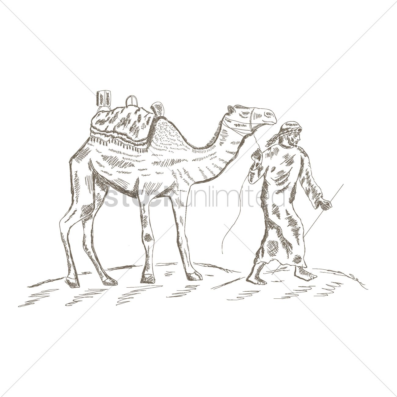 middle eastern man leading a camel in the desert vector image