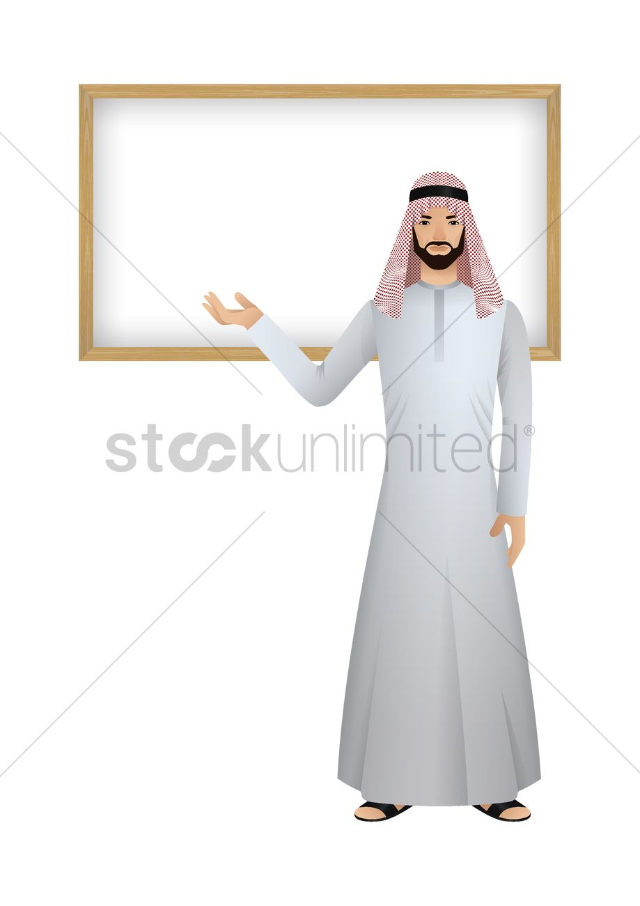 Middle eastern man with a blank board Vector Image - 1979477