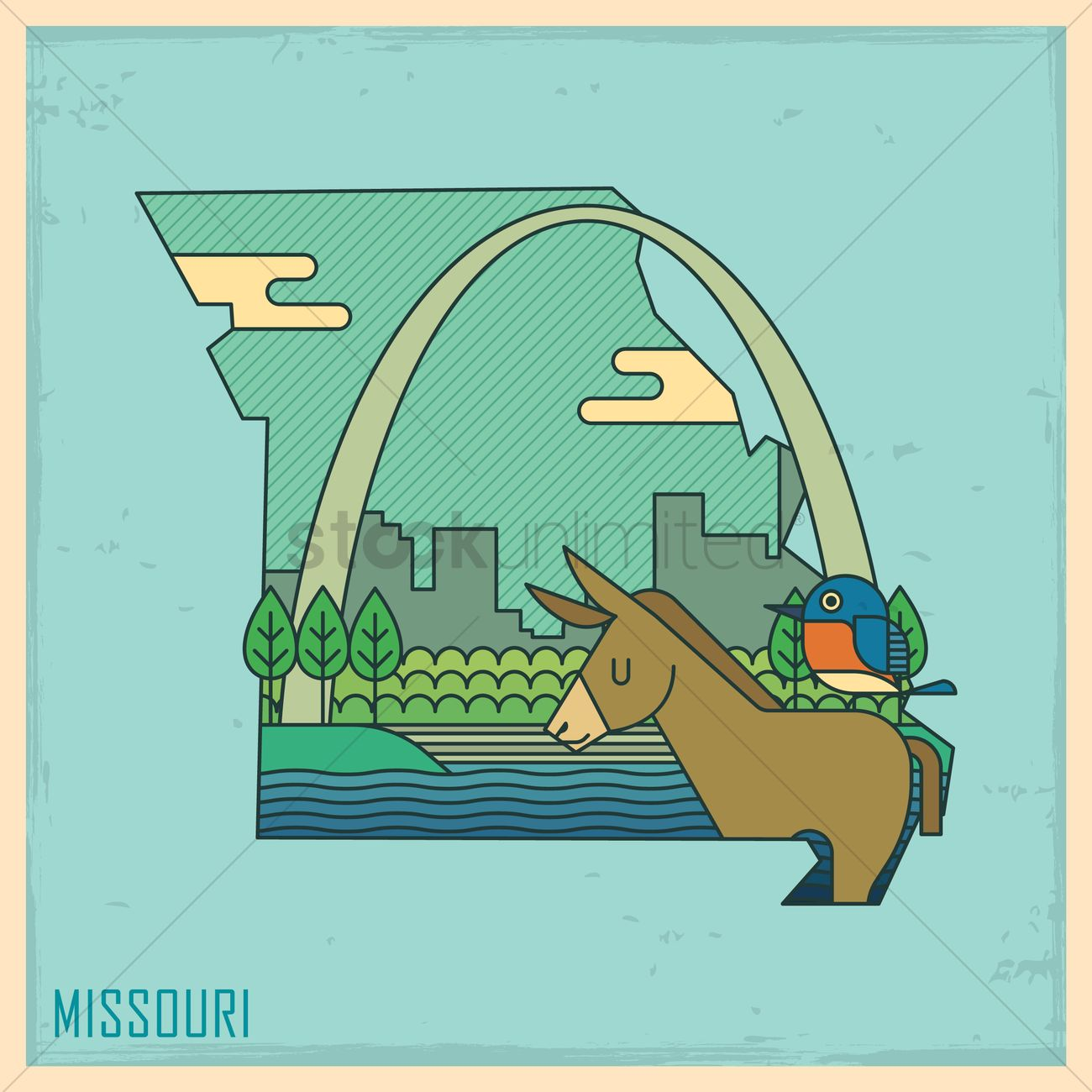 Missouri state map Vector Image - 1563473 | StockUnlimited