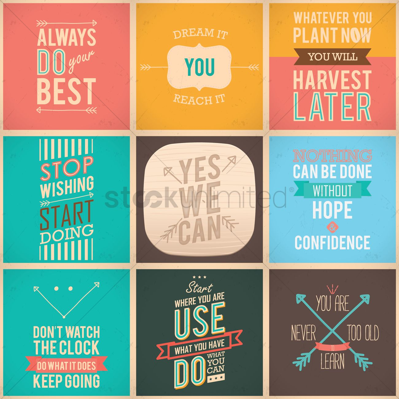Motivational quote collection Vector Image   1570129 | StockUnlimited