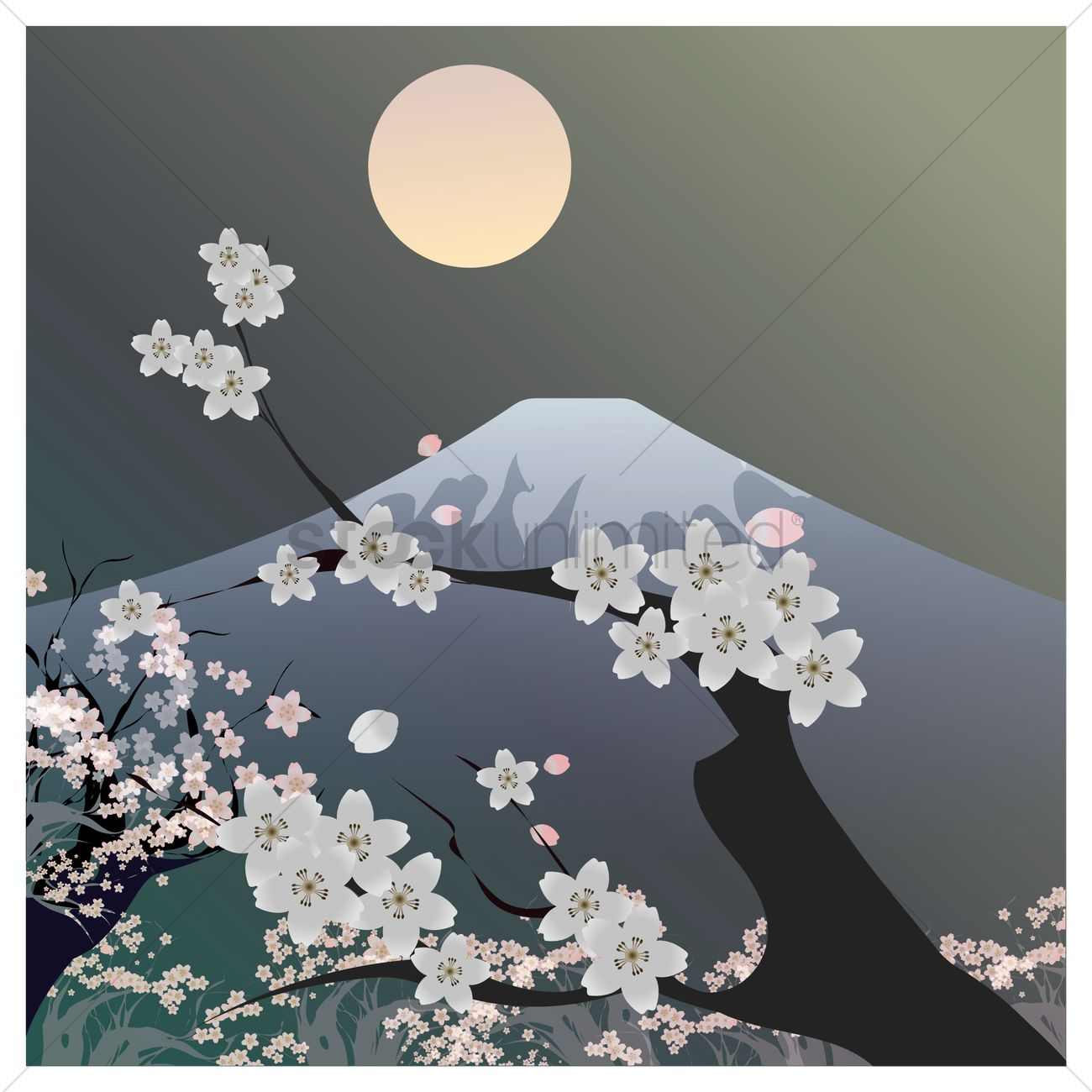 Mount Fuji Kyoto And Cherry Blossom Vector Image 1592553