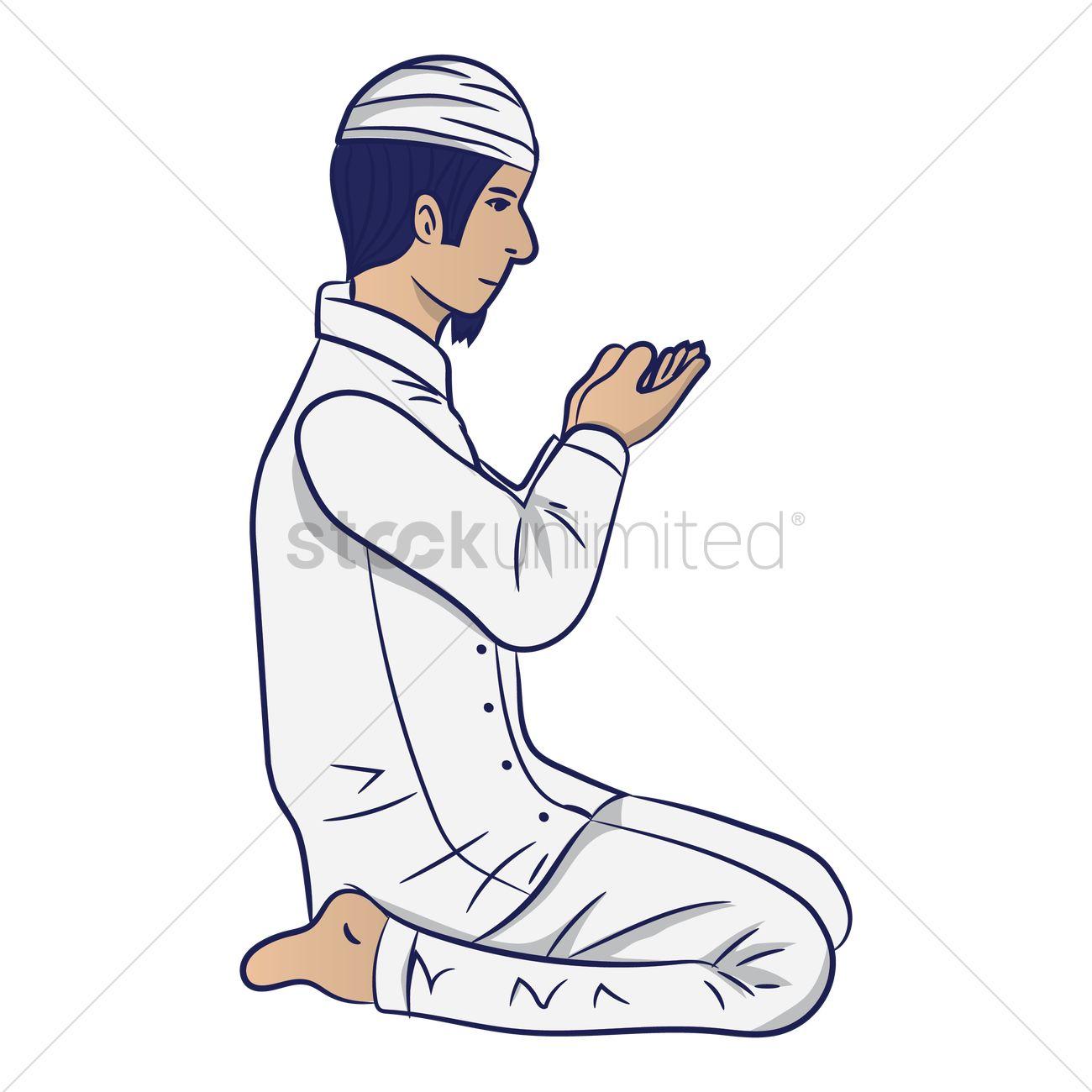 muslim man praying vector image 1996569 stockunlimited