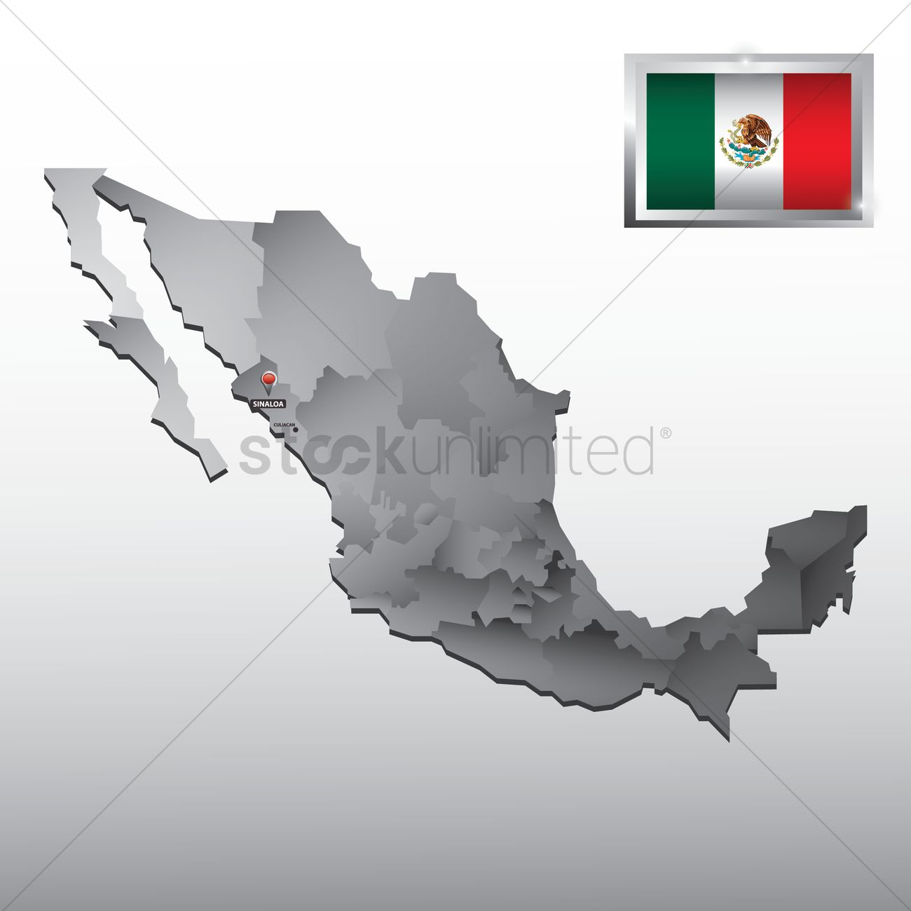 navigation pointer indicating sinaloa on mexico map vector graphic
