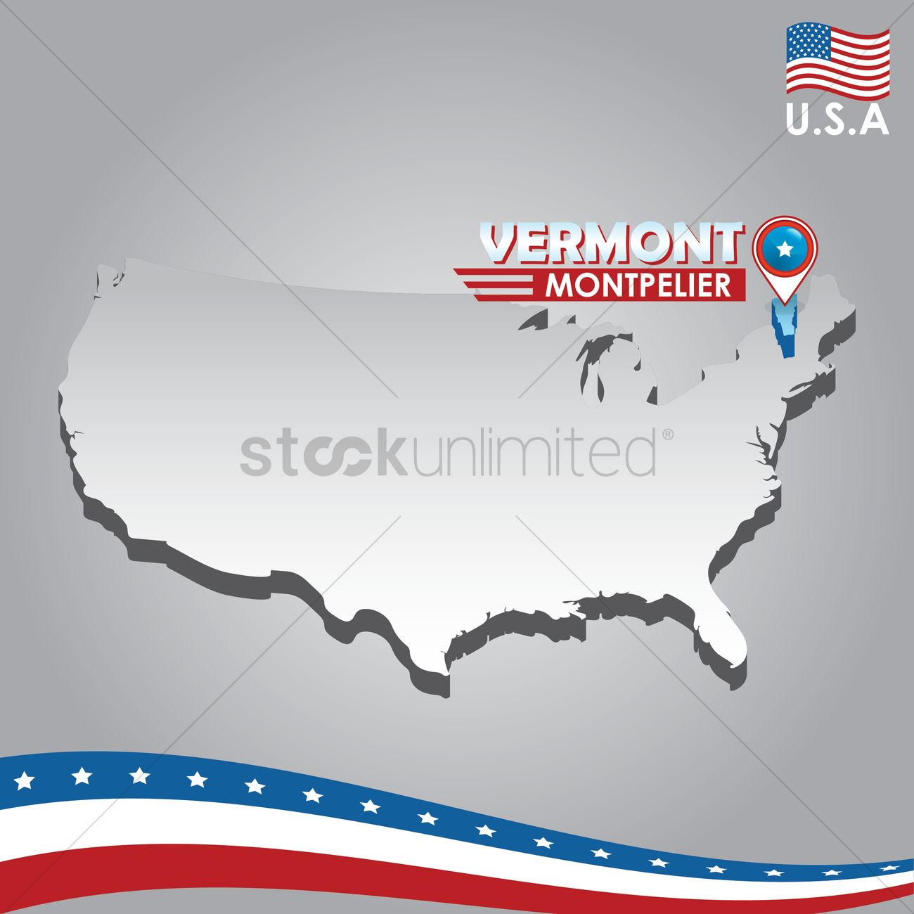 Navigation pointer indicating vermont on usa map Vector Image ...