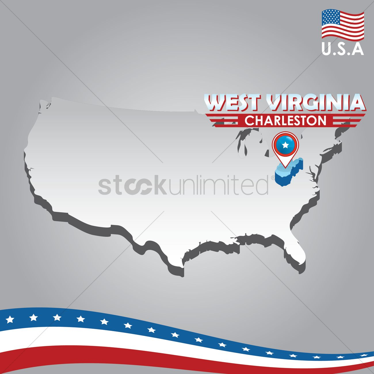 Navigation pointer indicating west virginia on usa map Vector Image ...