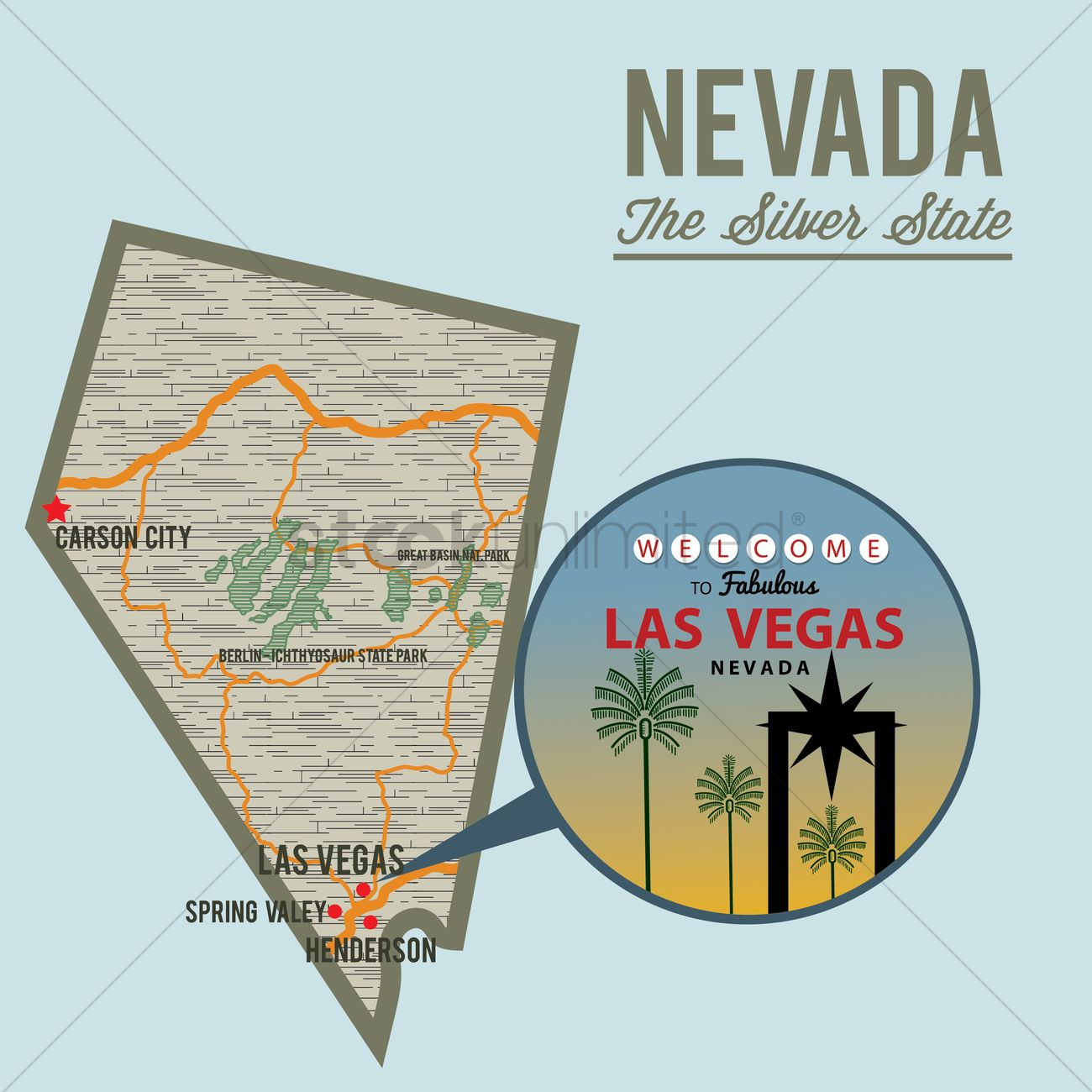Nevada State Map Vector Image 1567637 Stockunlimited