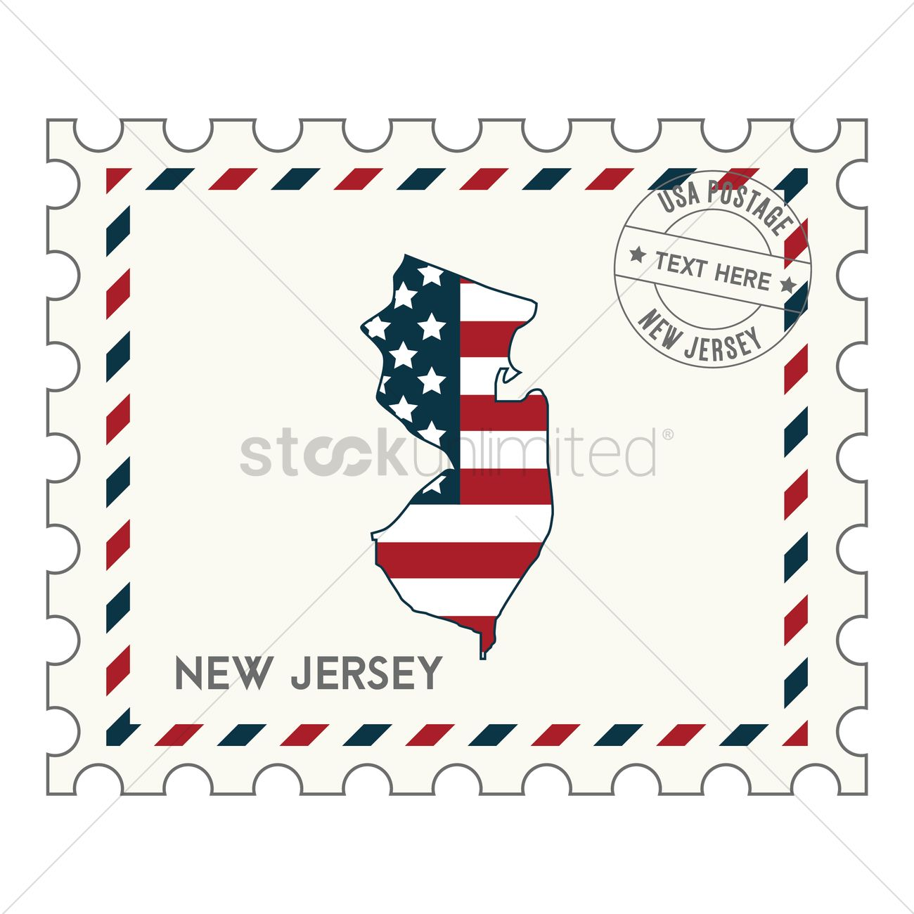 New Jersey Postage Stamp Vector Graphic