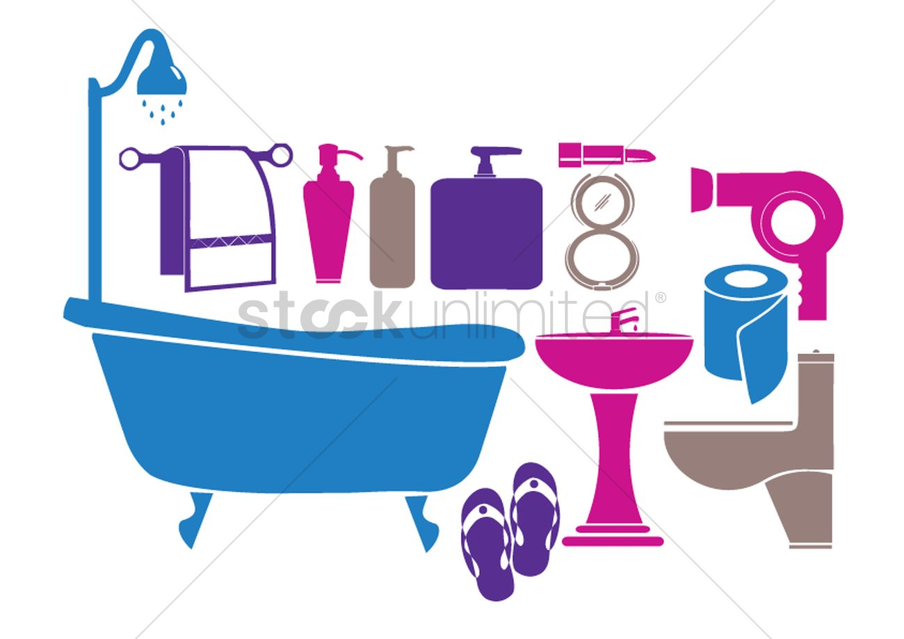 Objects In A Bathroom Vector Image 1259633 Stockunlimited