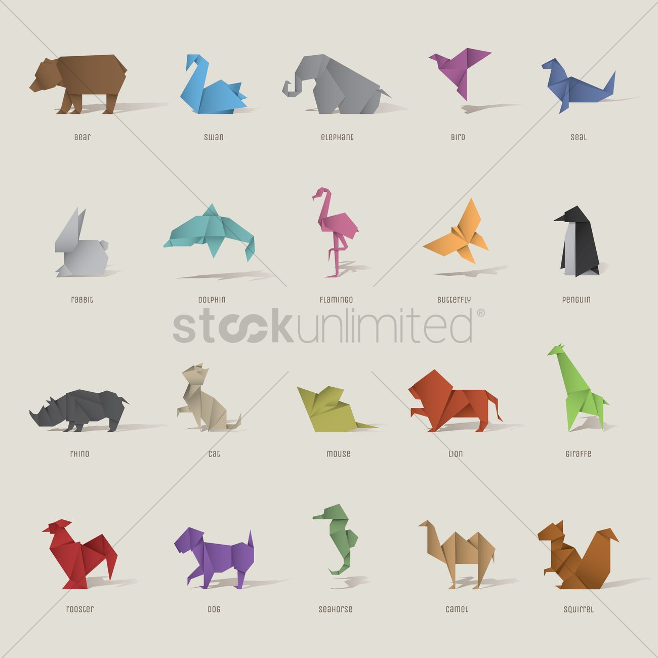 origami bird and animal set vector image 1817861