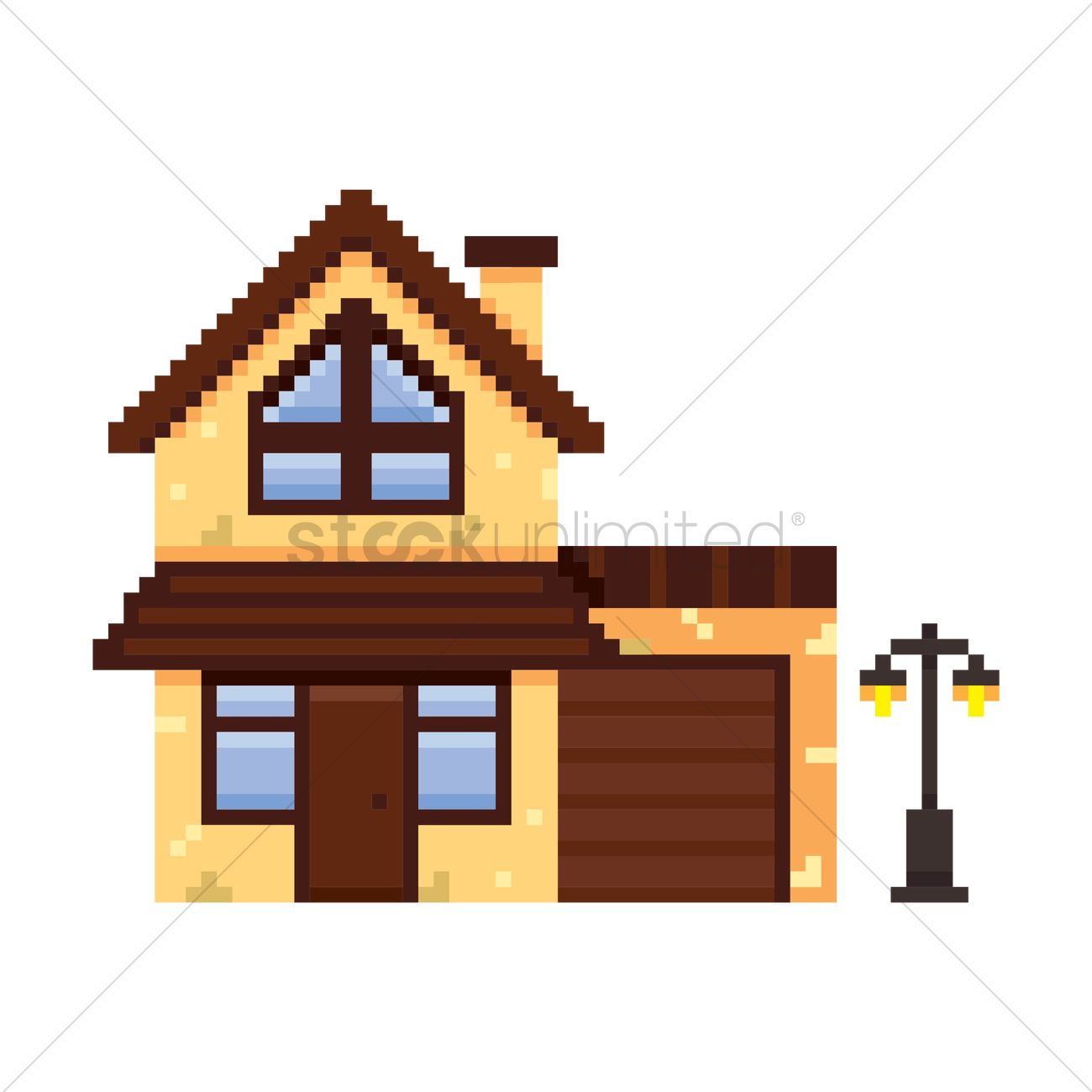 Architectural House Designs Pixel Art Building Vector Image 1957773 Stockunlimited