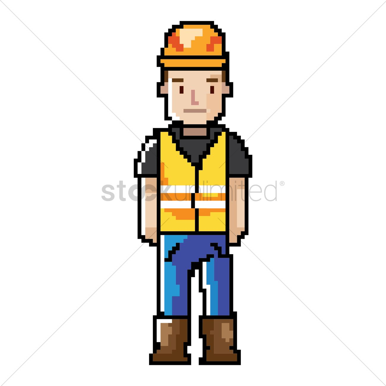 Pixel Art Construction Worker Vector Graphic