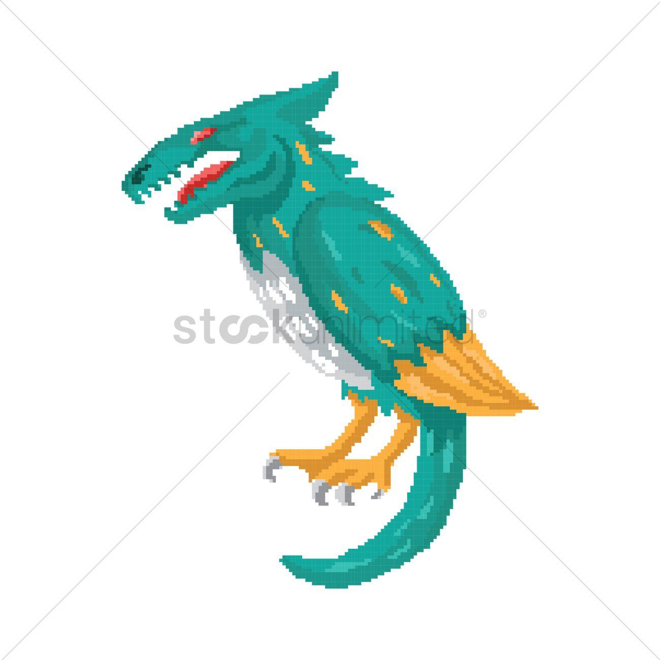 Pixel art fantasy creature Vector Image - 1959037