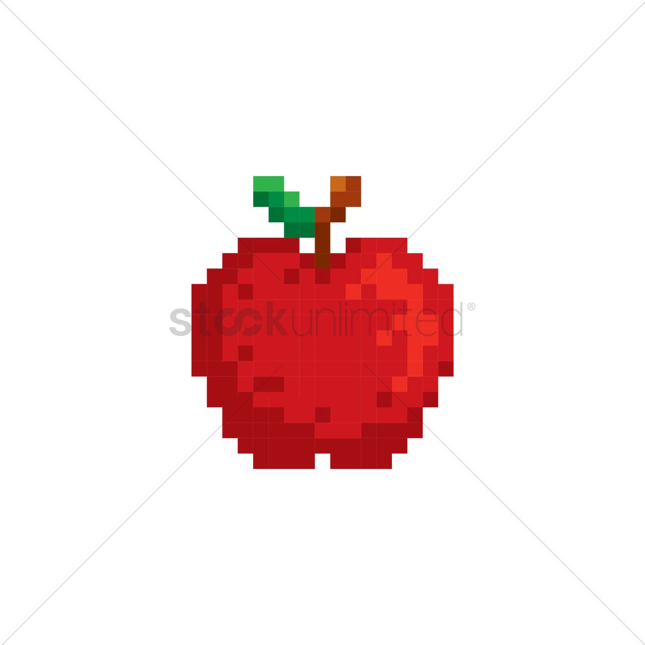 Pixel Art Red Apple Vector Image - 1987401
