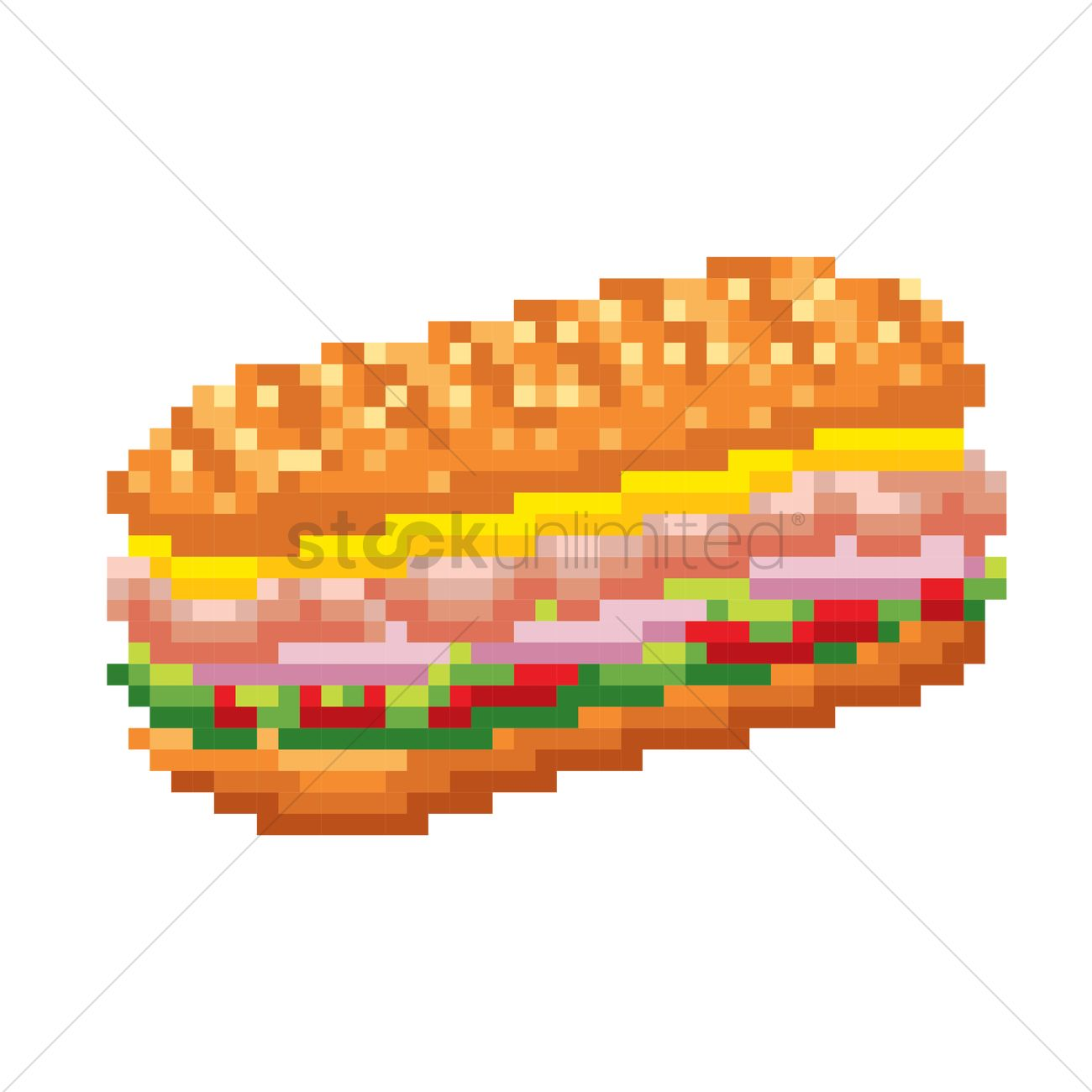 Pixel Art Sandwich Vector Image 1987369 Stockunlimited
