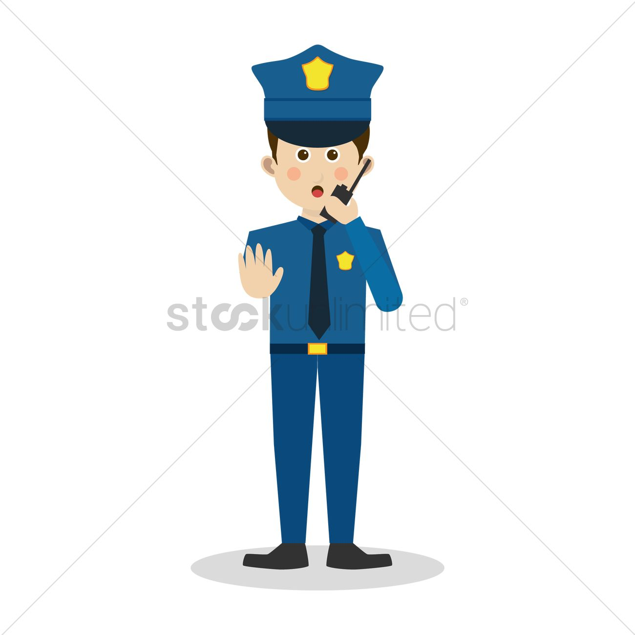 Stop sign policeman with. Talking over the radio