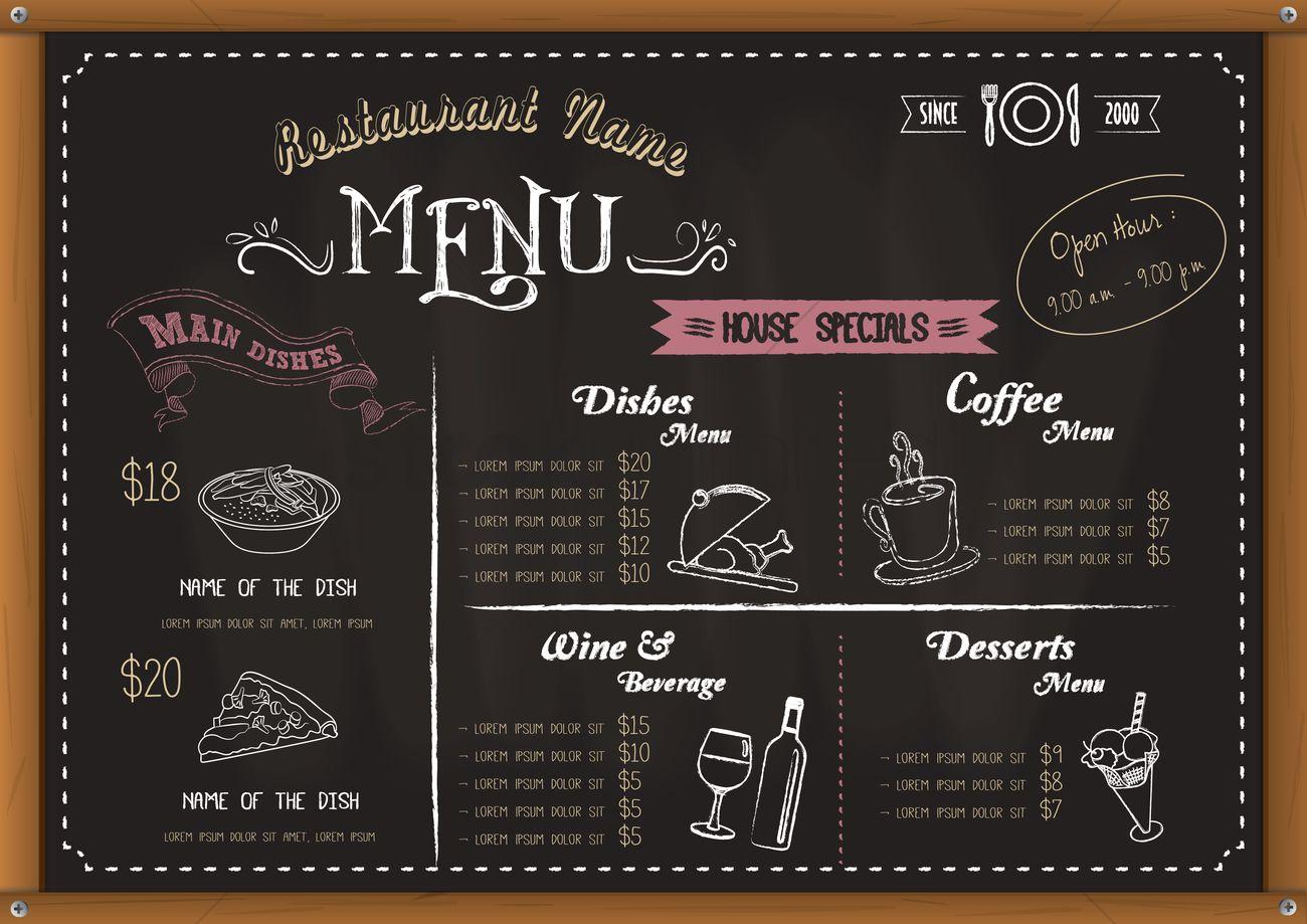 Restaurant menu board Vector Image - 1558557 | StockUnlimited