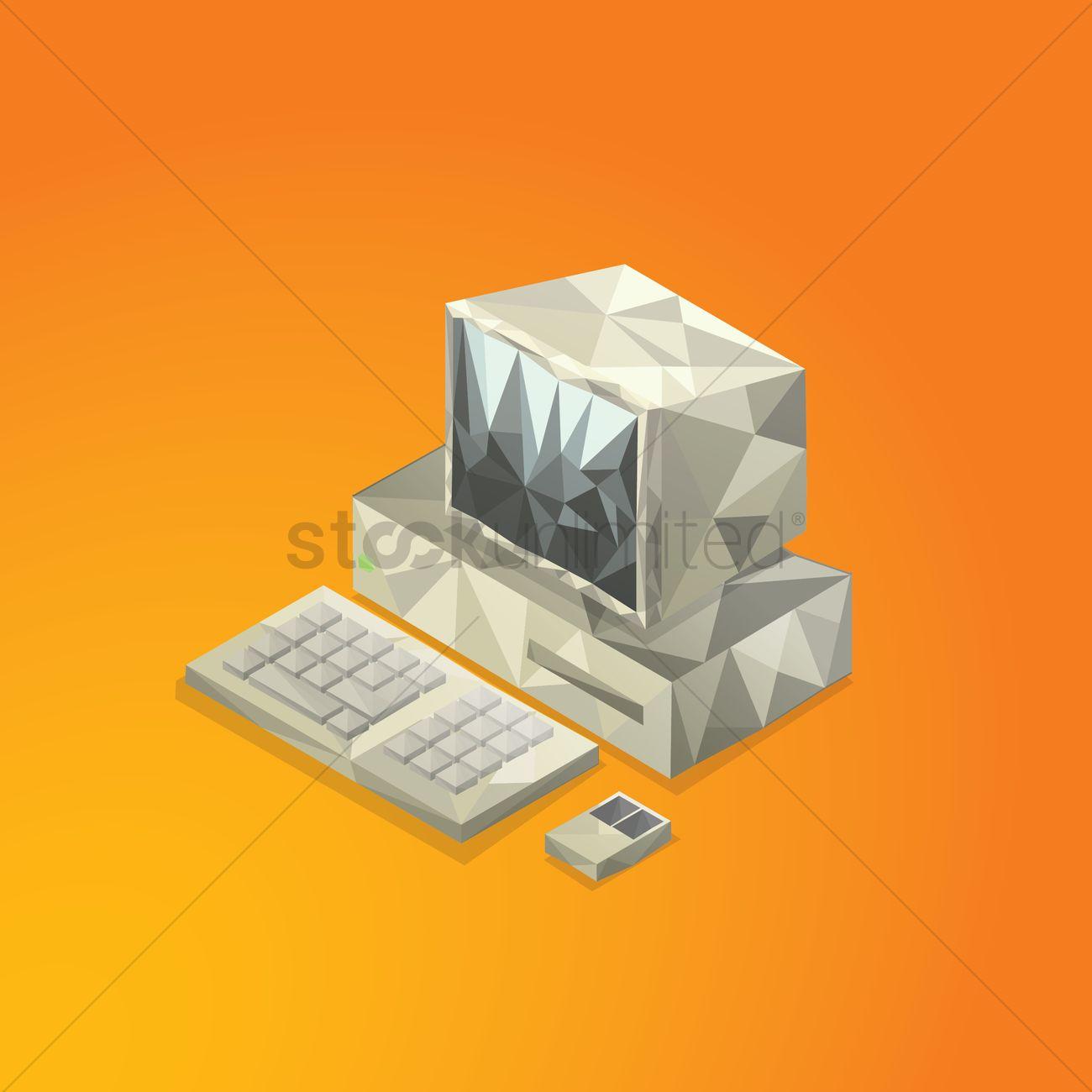Retro computer Vector Image - 1544649 | StockUnlimited