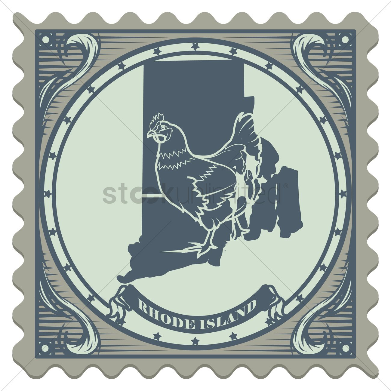 Rhode Island State Postage Stamp Vector Image 1557377 Stockunlimited
