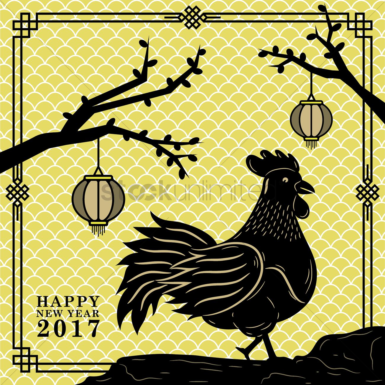 rooster year chinese new year greeting vector graphic