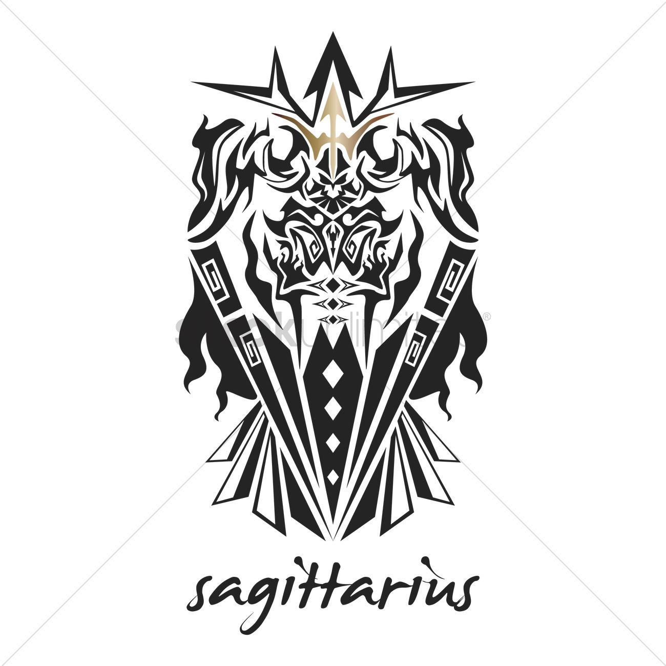 Sagittarius Tattoo Horoscope Design Vector Image 1969169