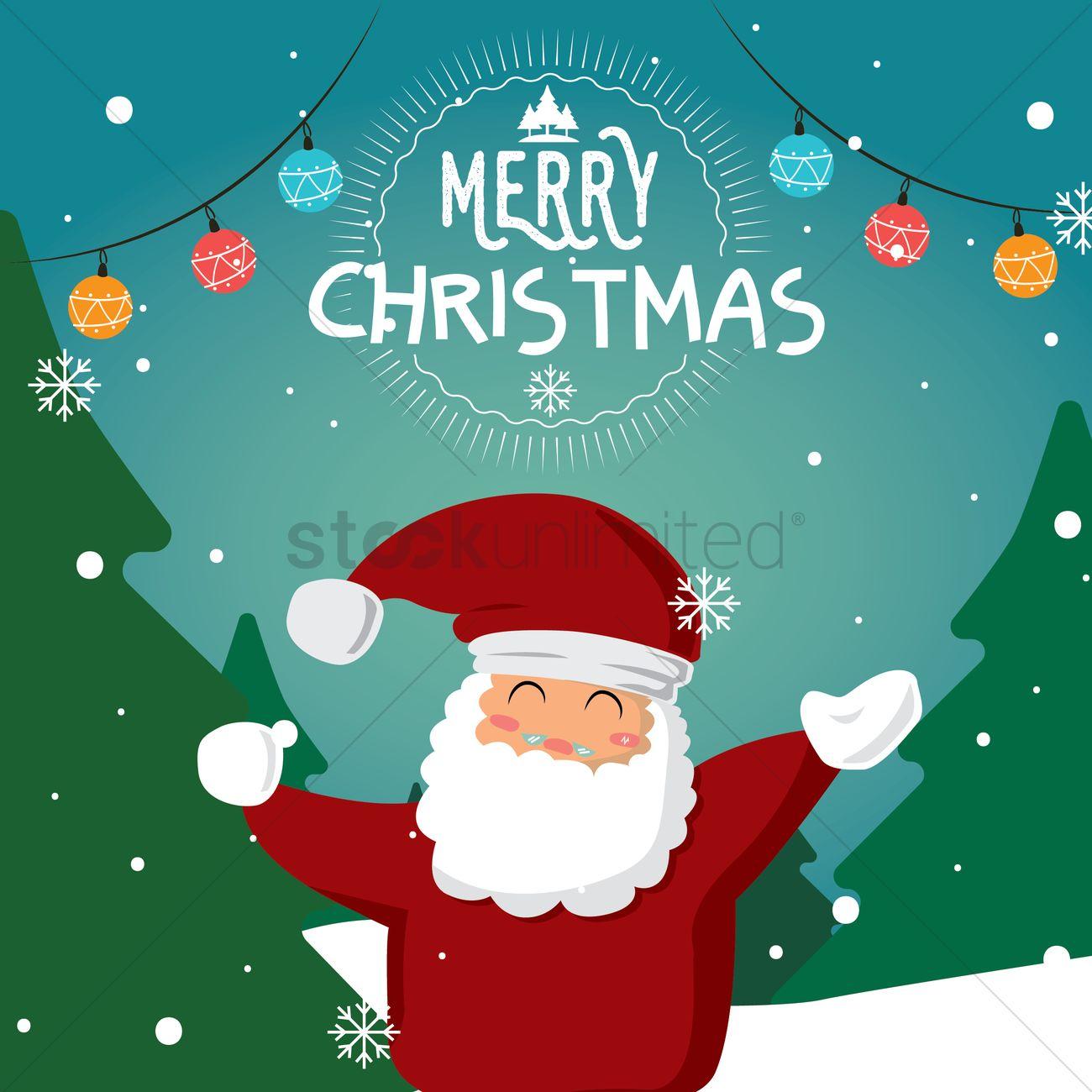 santa claus christmas card design vector graphic - Santa Claus Christmas Cards
