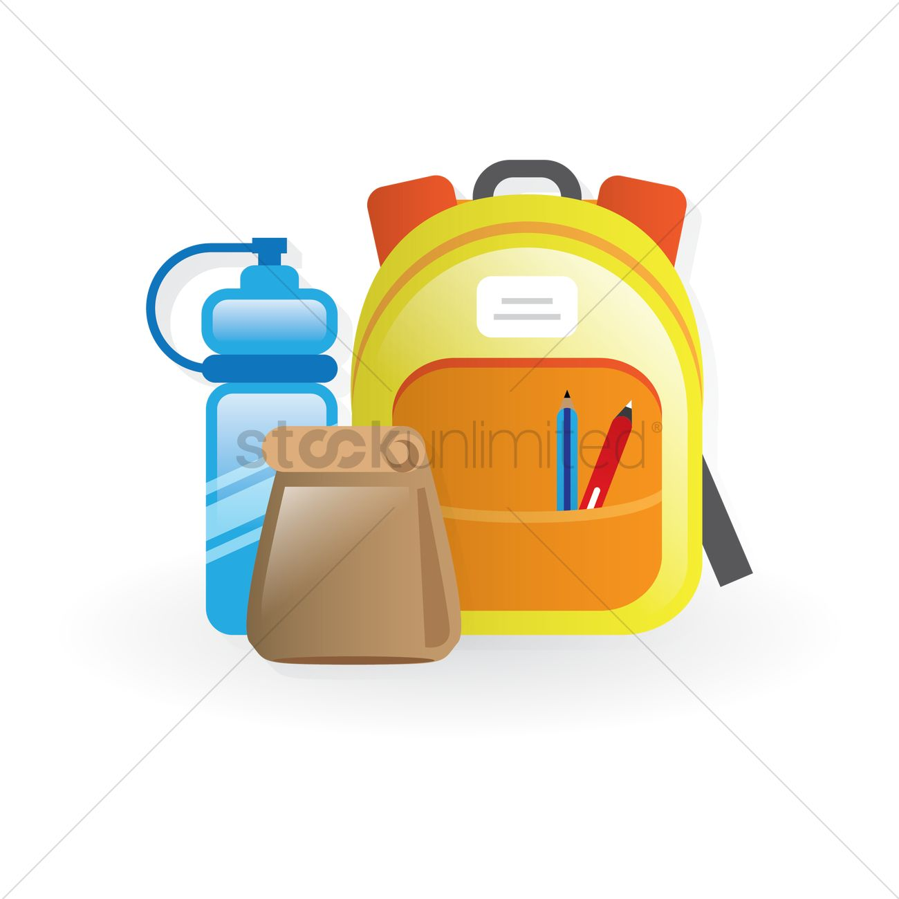 school backpack, lunch bag and water bottle vector image - 1411373