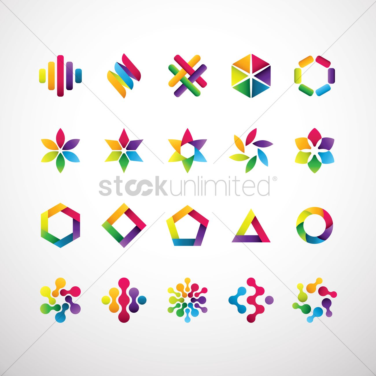 Set of abstract logo elements Vector Image - 1628093 ...