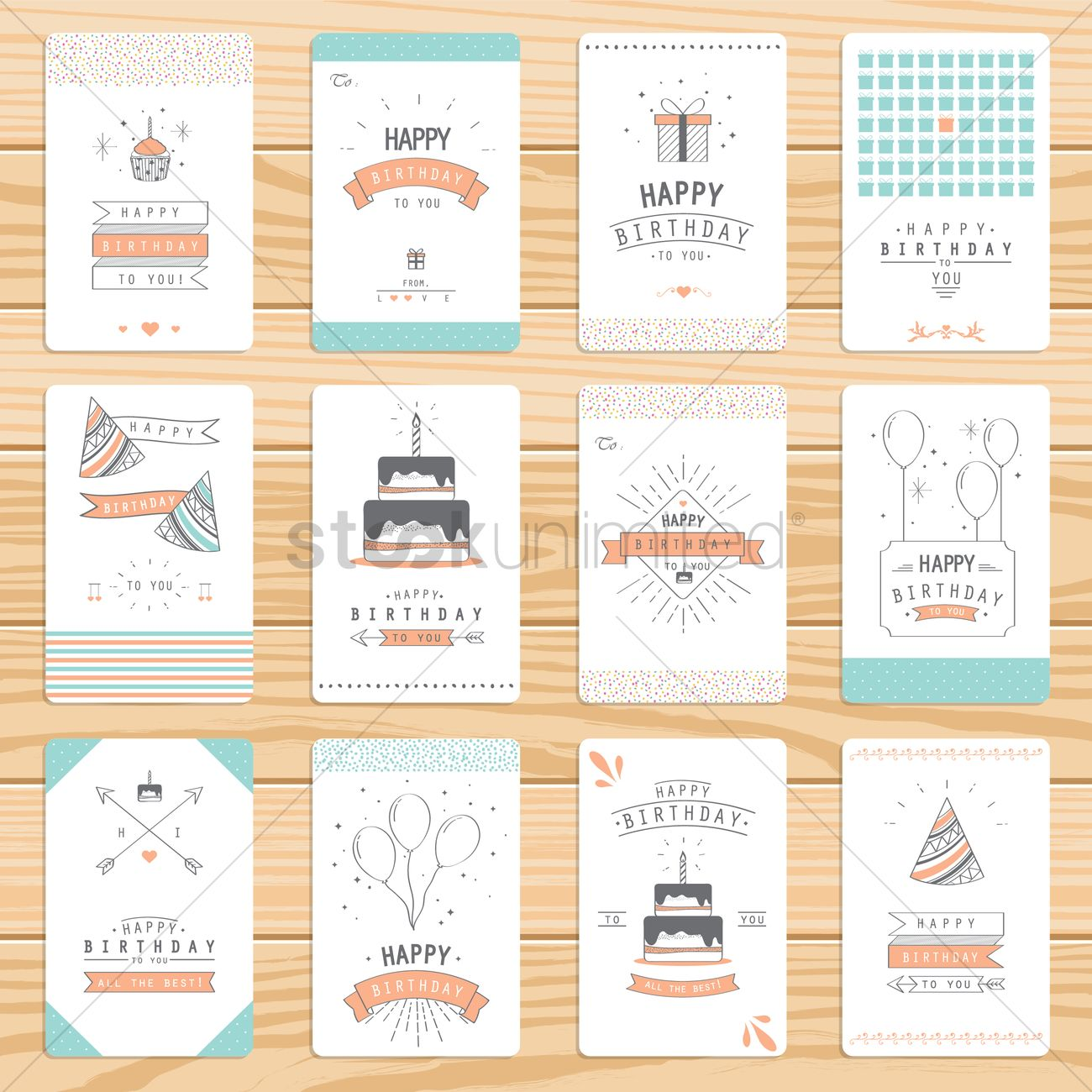 Set Of Birthday Greeting Cards Vector Image 1828473 Stockunlimited