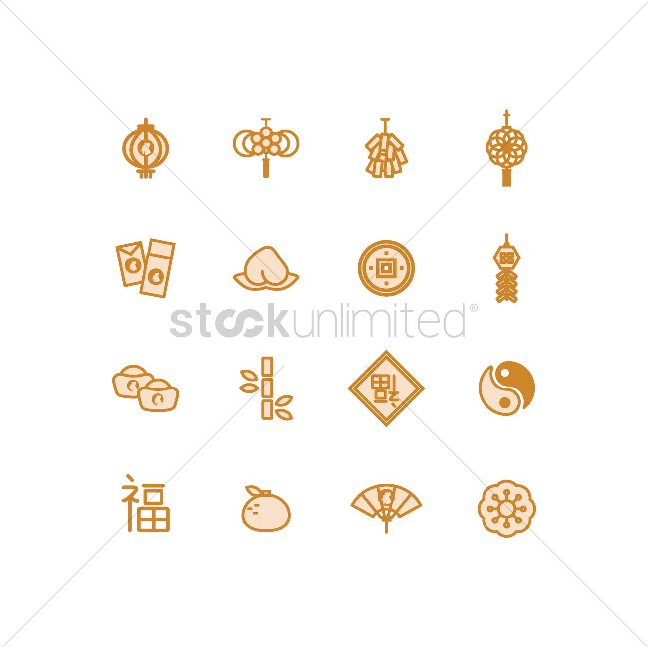 set of chinese new year icons vector graphic - Chinese New Year 1969