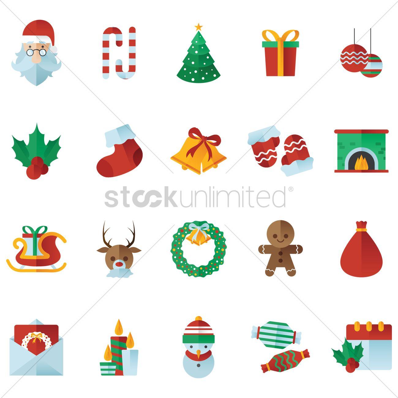 Christmas Items.Free Set Of Christmas Items Vector Image 1498409
