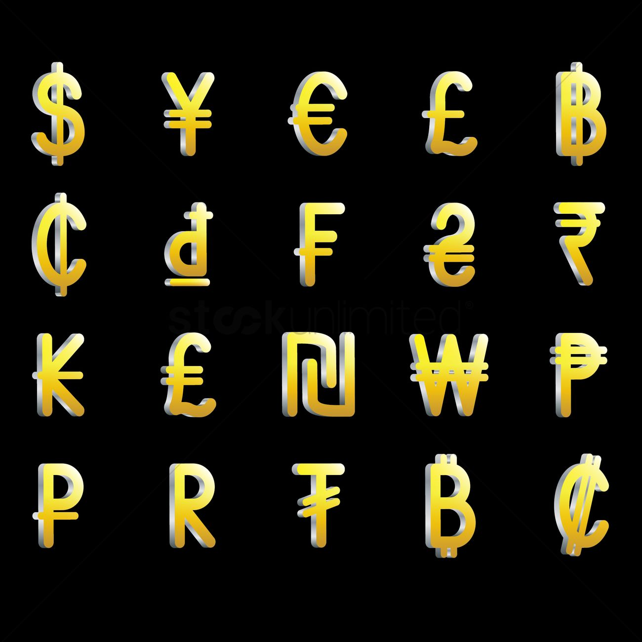 Set of currency symbols vector image 1821547 stockunlimited set of currency icons buycottarizona Image collections