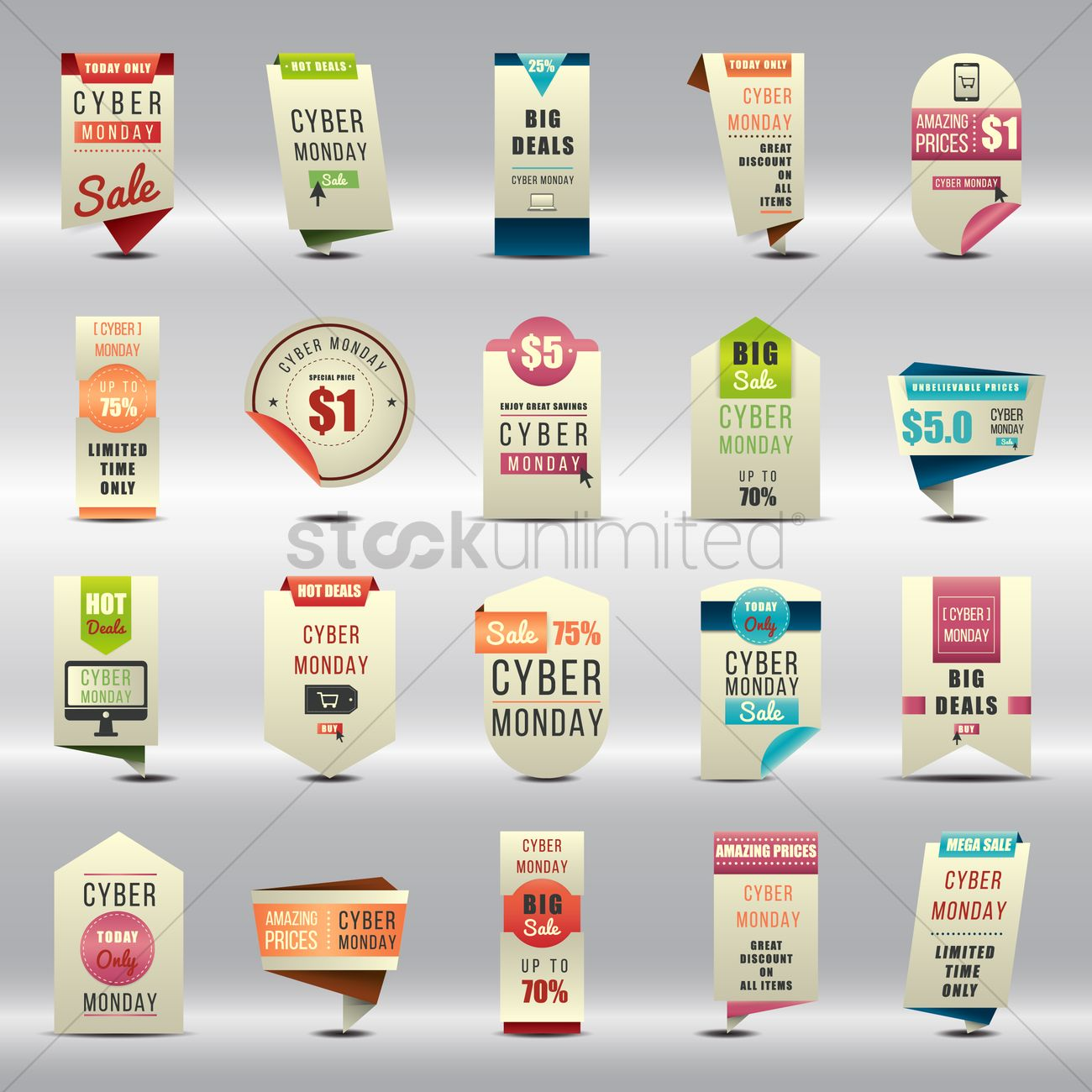 Set of cyber monday sale banners and stickers vector image 1613413