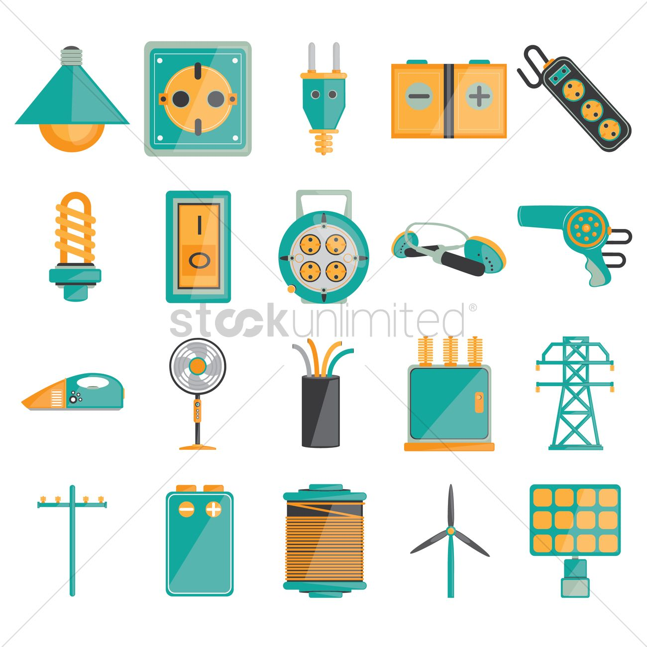 Set Of Electrical Icons Vector Image 1451581 Stockunlimited