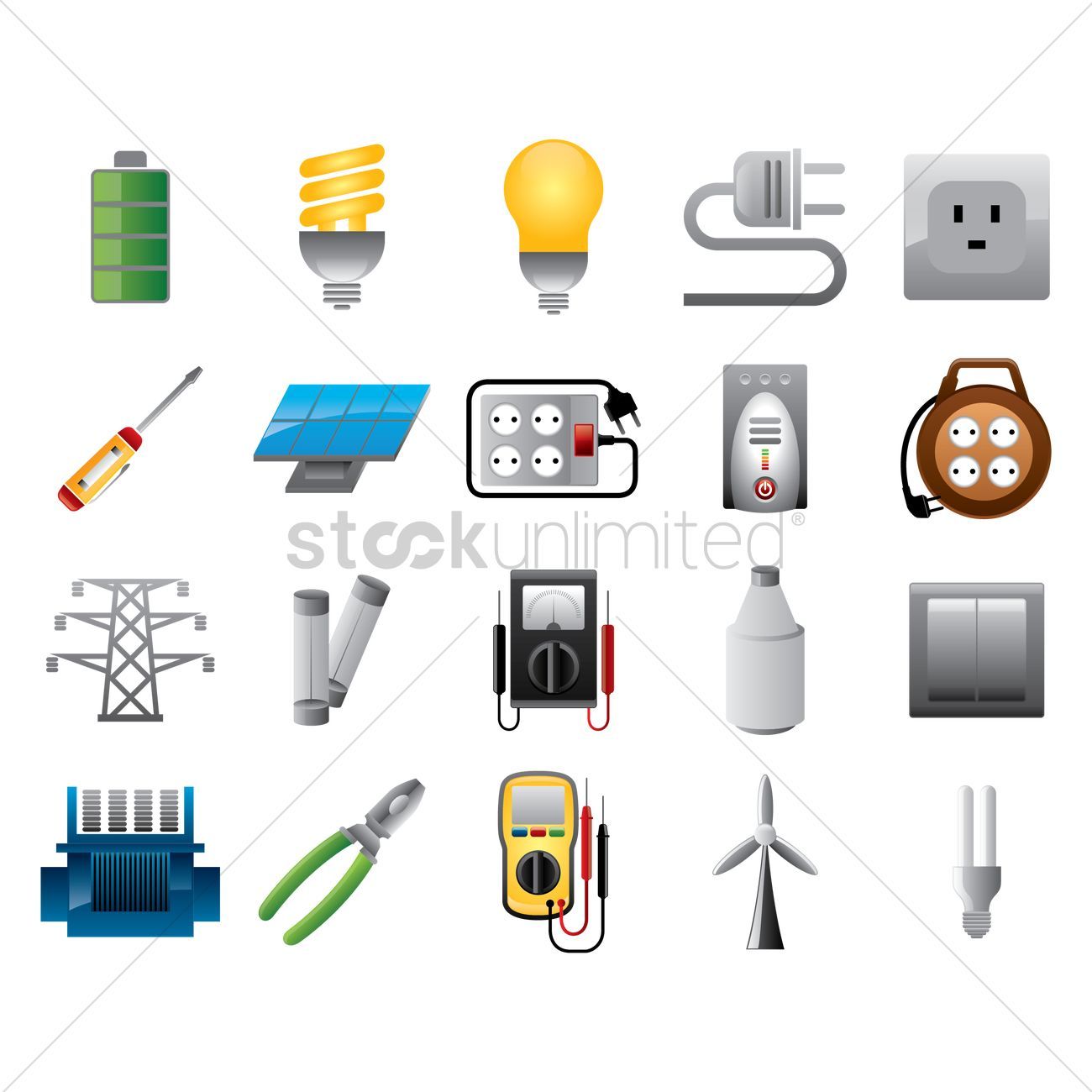 Set Of Electrical Items Vector Graphic