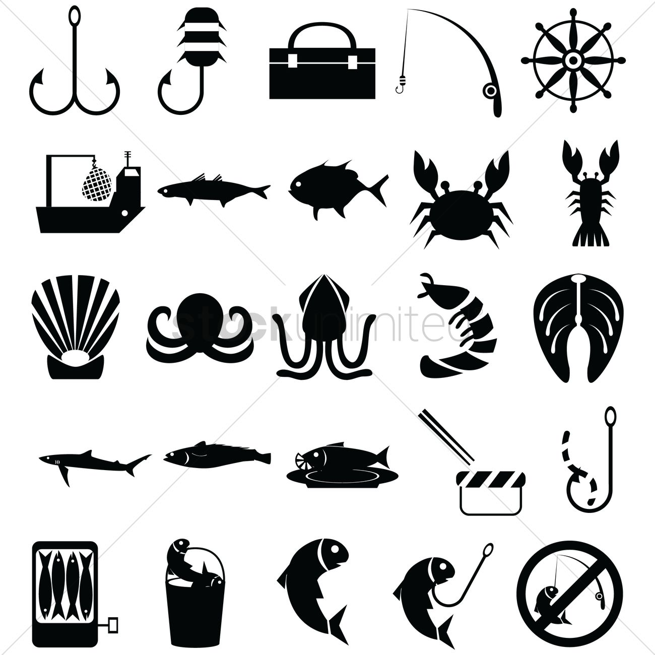 Set Of Fishing Icons Vector Image 1522157 Stockunlimited