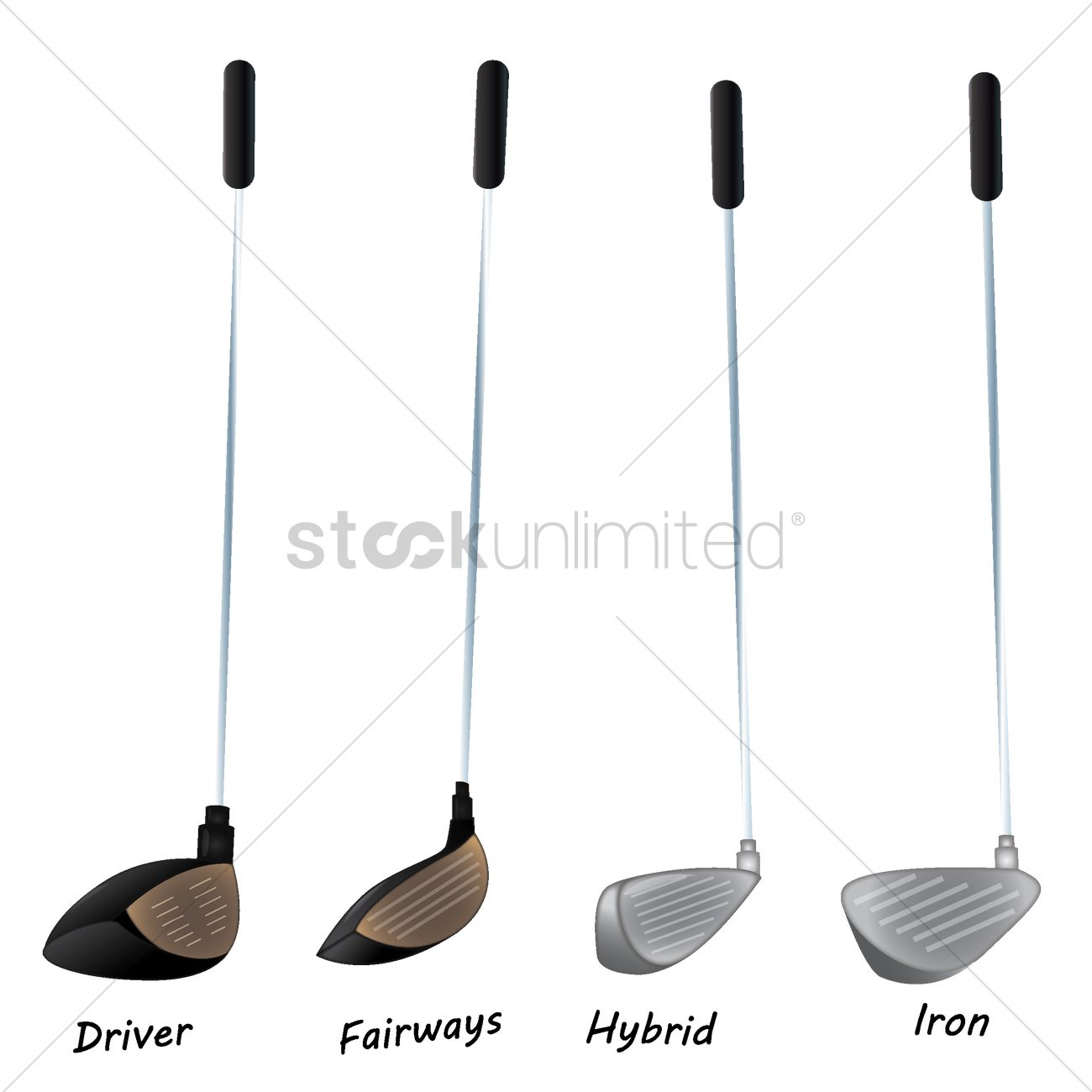 Set Of Golf Clubs Vector Image 1789073 Stockunlimited