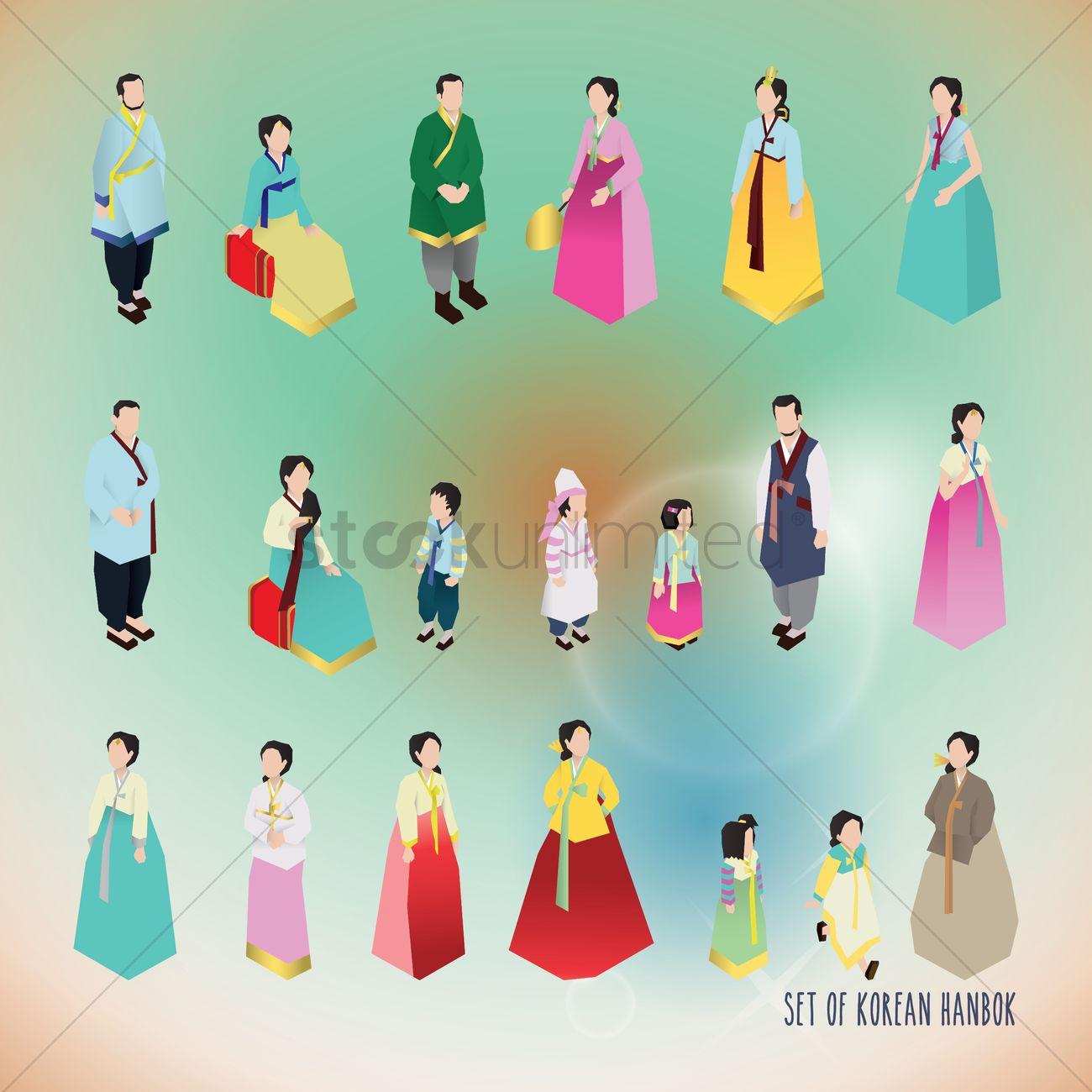 set of korean hanbok icons vector image