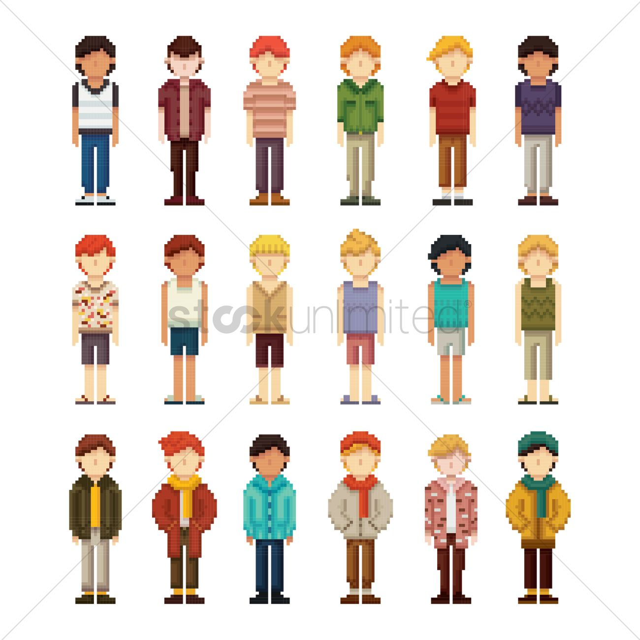 Set of pixel art men fashion icons Vector Image - 1957529 ...
