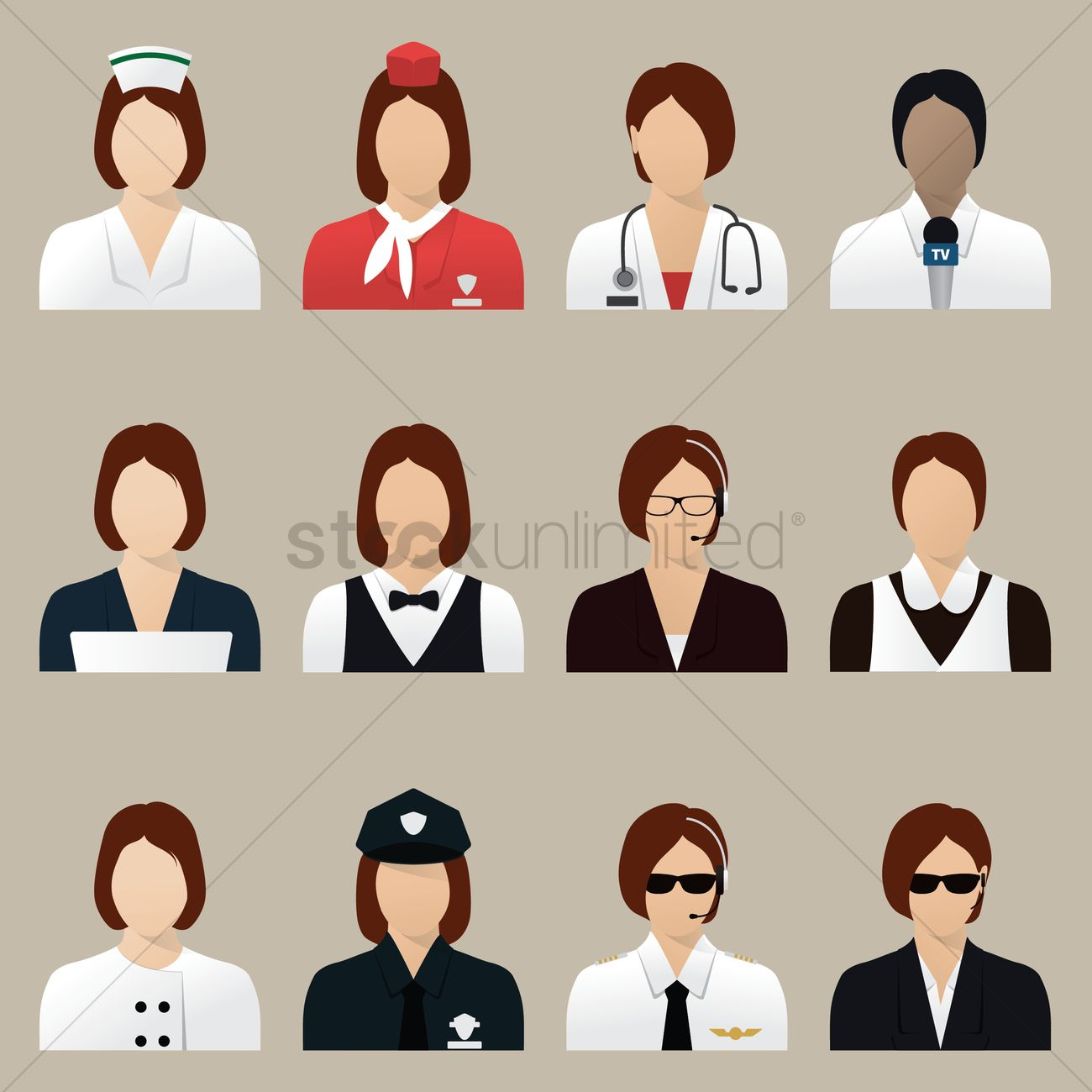 Professionals Academics: Set Of Professional Women Icons Vector Image