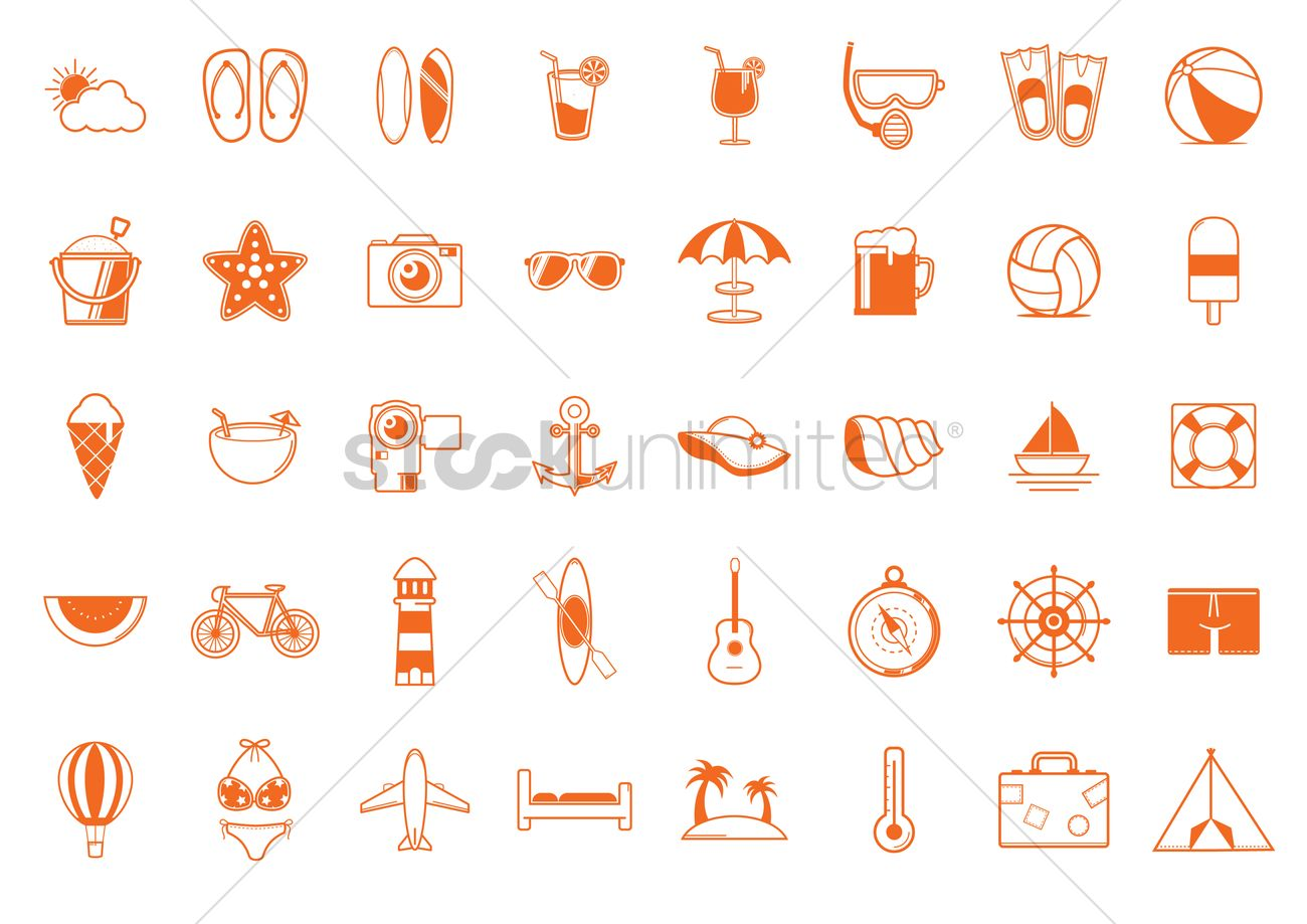 32d5450c4864 Set of summer icons Vector Image - 1353585