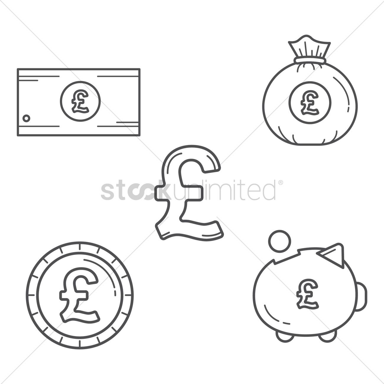 Set Of Uk Currency Icons Vector Image 1574161 Stockunlimited