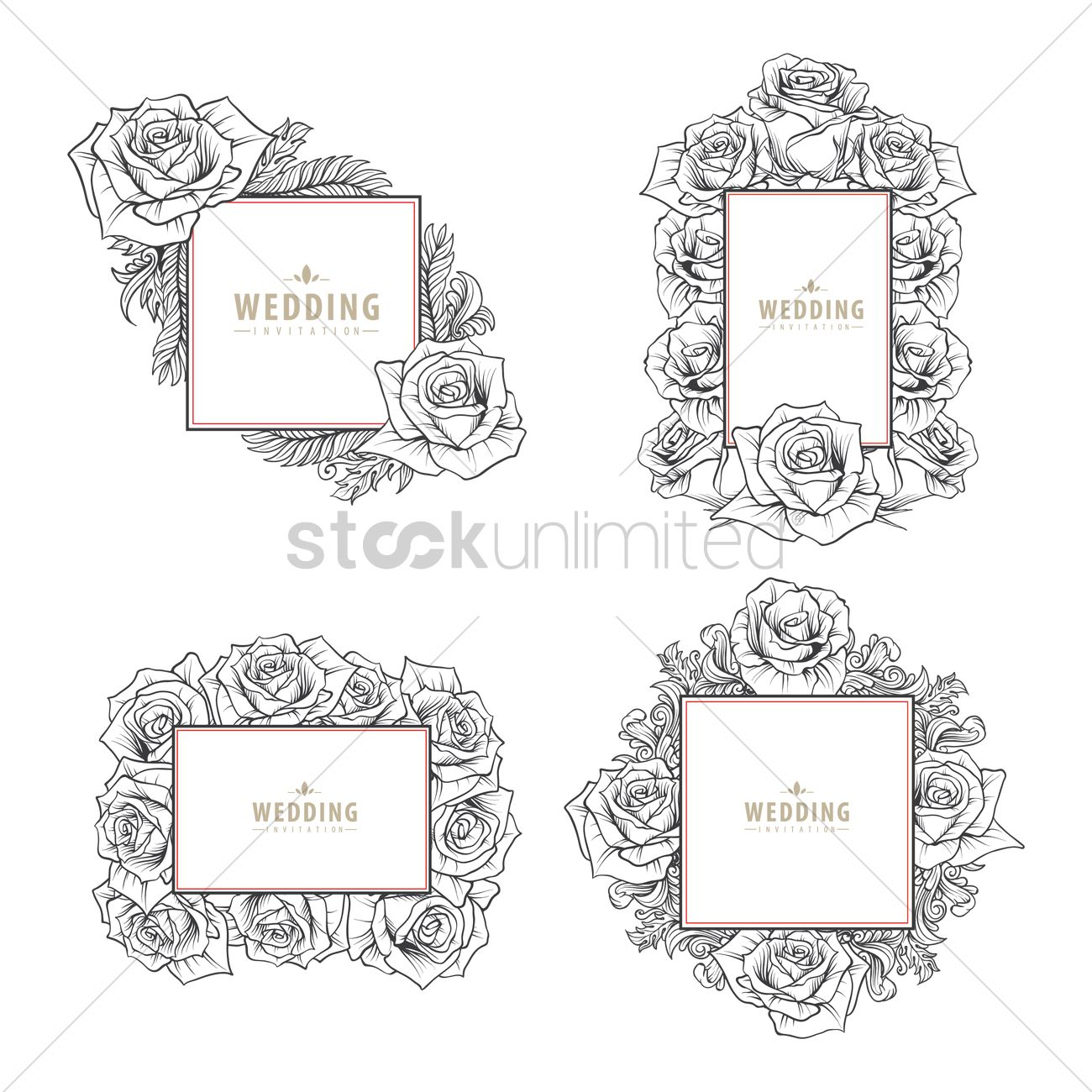 Set of wedding invitation cards Vector Image - 1821721 | StockUnlimited