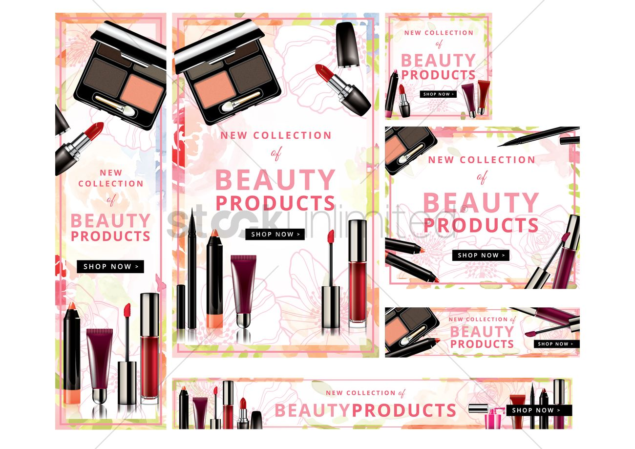 Shop now beauty products banners set Vector Image - 1811977