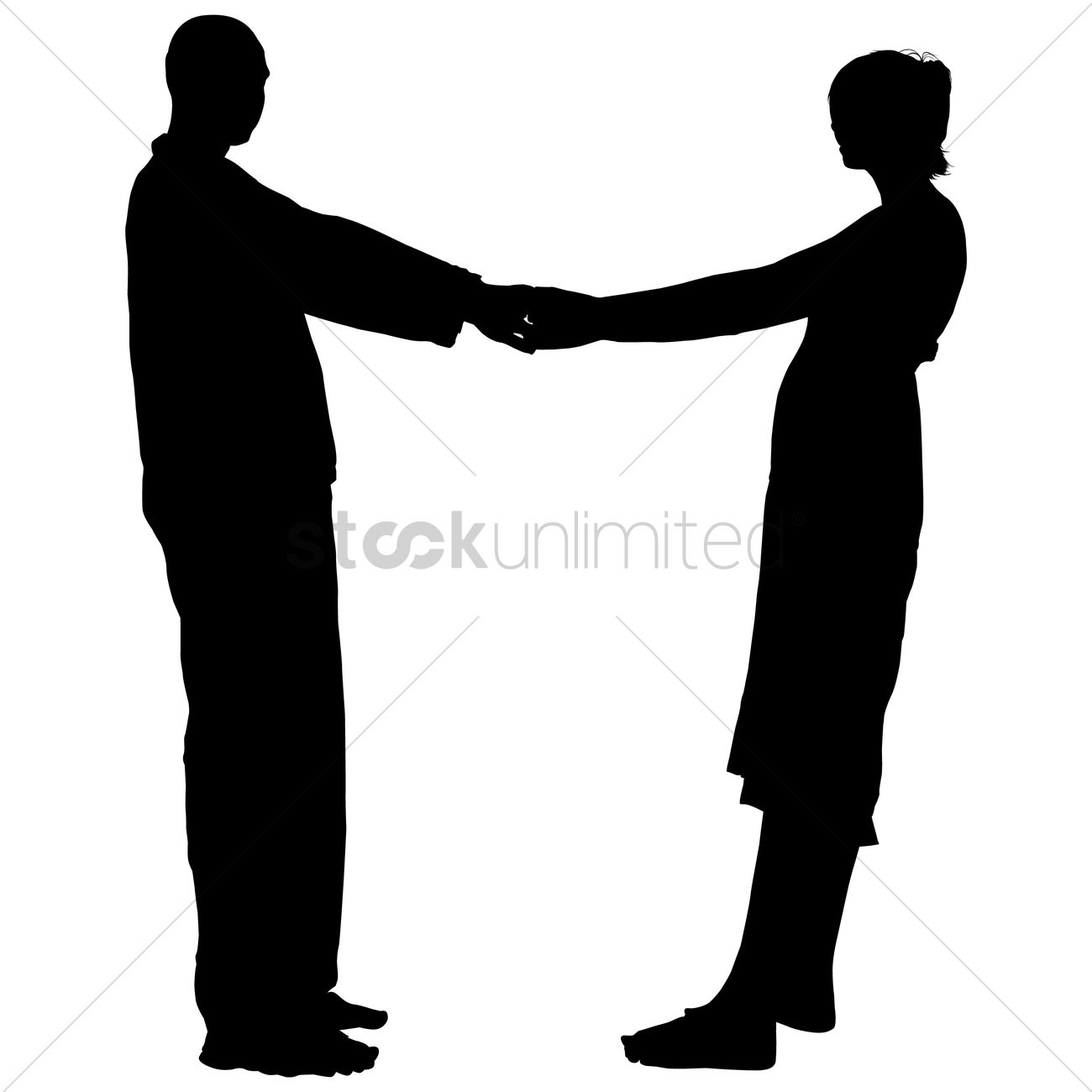 silhouette of a couple holding hands vector image 1463741