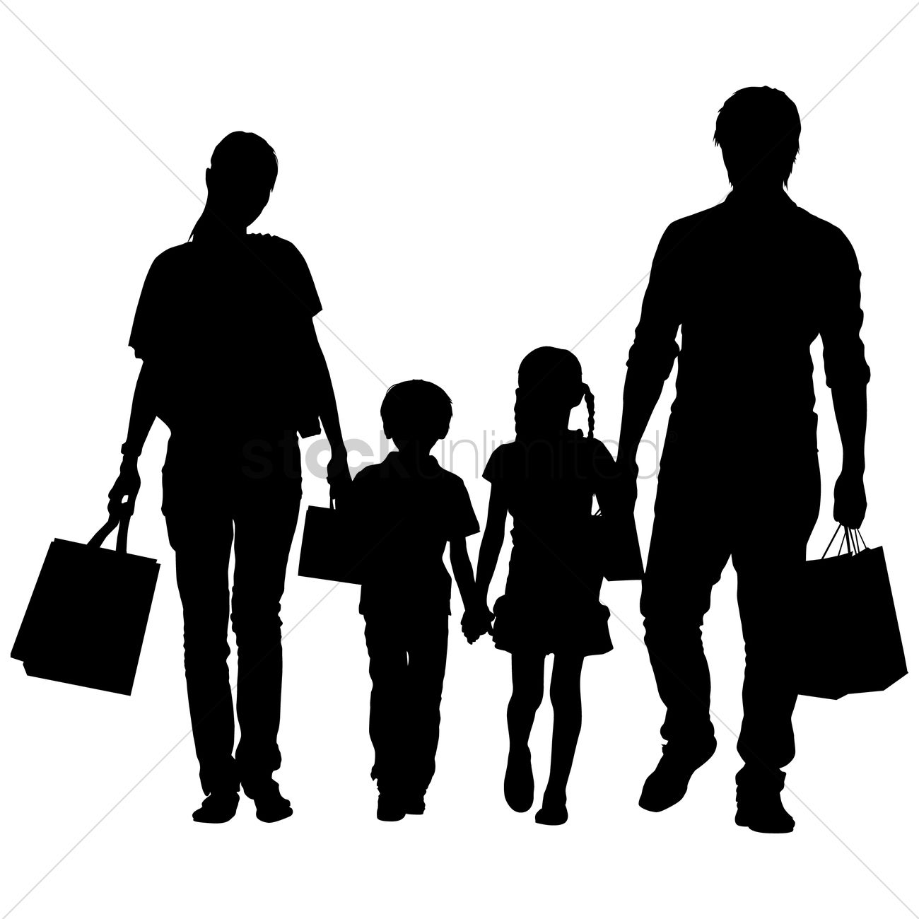 silhouette of a family shopping vector image   1463173