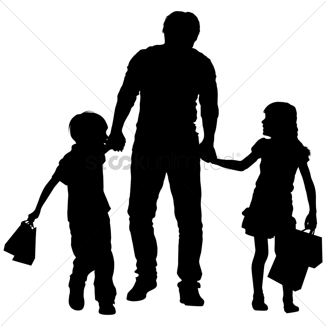 silhouette of a father and kids shopping vector graphic