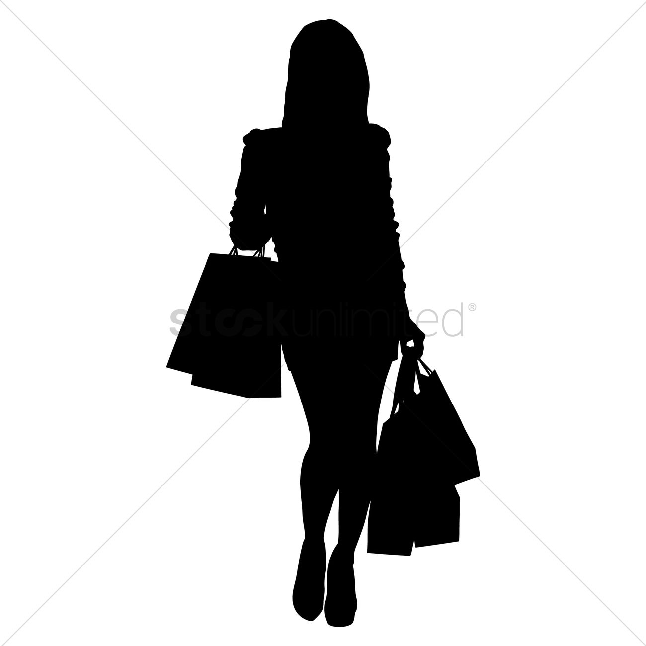 1f409f0e006 Silhouette of a lady with shopping bags Vector Image - 1456025 ...